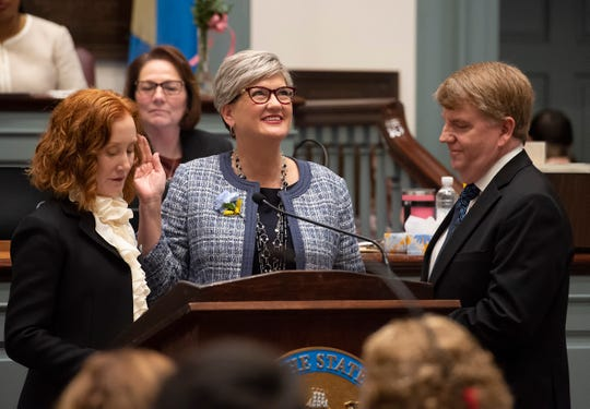 Laura Sturgeon, D-Brandywine West being sworn in for the start of the 150th General Assembly at Legislative Hall in Dover.