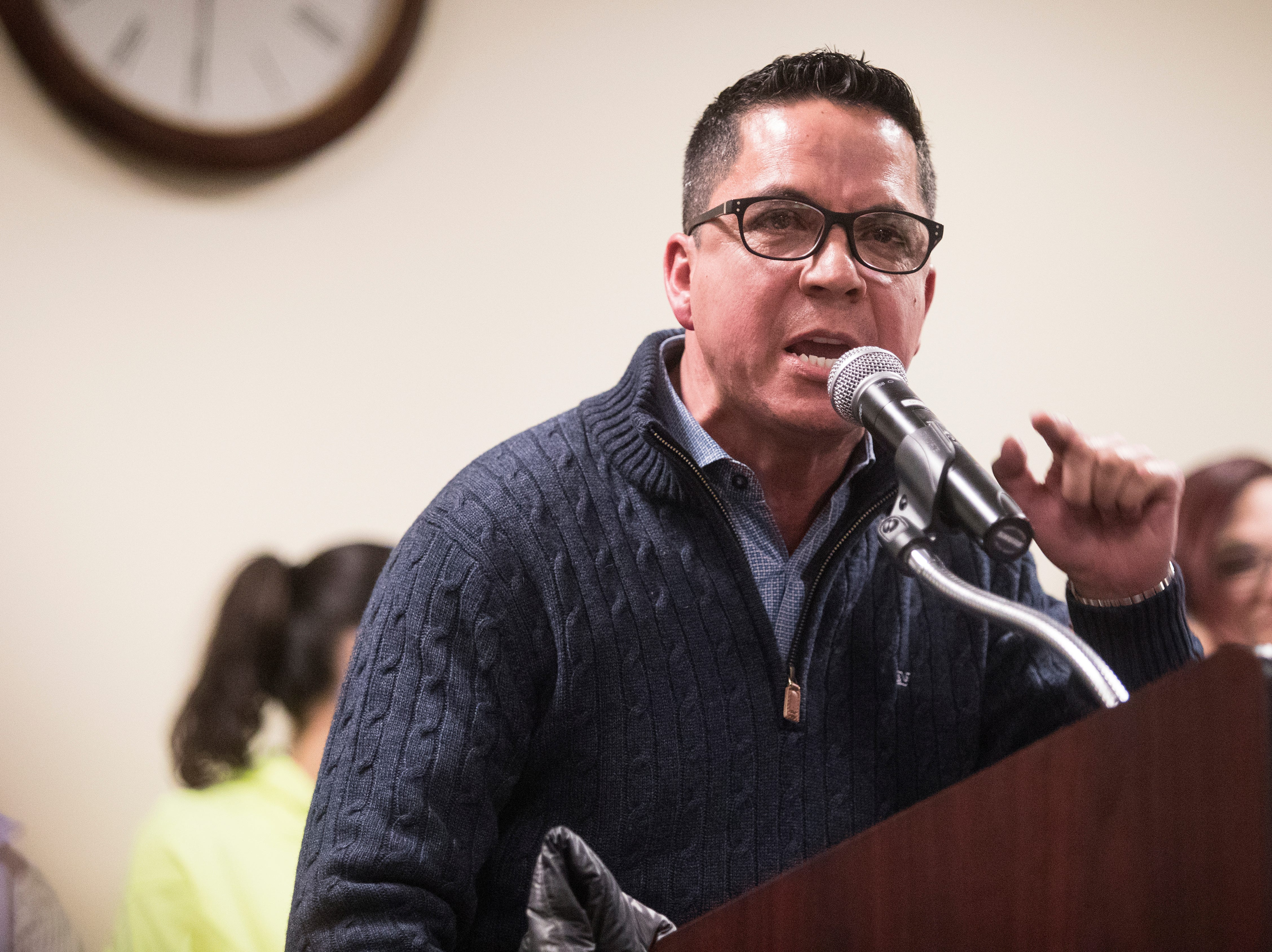 Kevin Andrade speaks to the Middletown City Council about immigration and the recent Hummers Parade Monday night at Town Hall in Middletown.