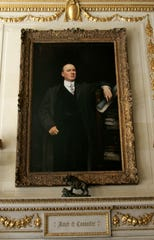 A painting of the late Alfred I. du Pont in the reception hall of the Nemours Mansion.