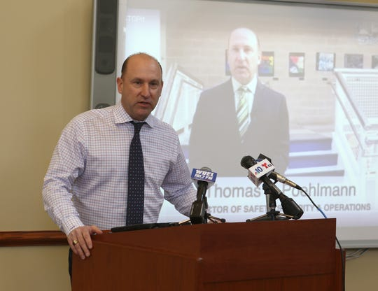 Appoquinimink School District Director of Safety, Security and Operations Tom Poehlmann talks about the STOPit app that was launched district-wide Monday during an event Monday at the Appo High School library.