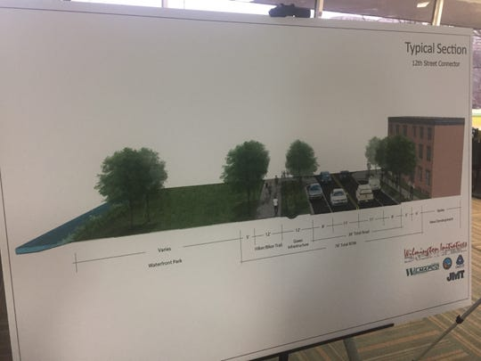 "The design of the proposed ""12th Street Connector"" includes green space and a walking or biking trail along the Brandywine riverfront"