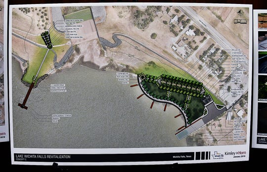 One of three proposed design concepts presented to the Lake Wichita Revitalization Committee for the Veterans Memorial Plaza to be built on the east bank of Lake Wichita near the boat ramp.