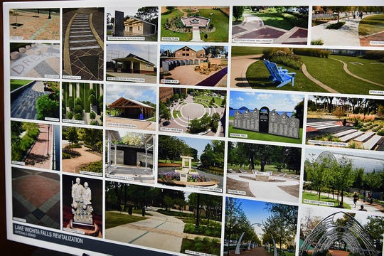 Photos showing examples of design elements available for the Veterans Memorial Plaza at Lake Wichita. Kimley-Horn presented three full designs for the plaza during the Lake Wichita Revitalization Committee meeting Tuesday morning.
