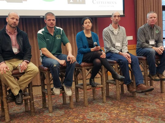 A panel of dairy farmers, together with Abigail Augarten of the UW Discovery Farms program and Dr. Francisco Arriaga, soil scientist with the University of Wisconsin-Extension answered questions about cropping systems that protect water quality and improve soil health during the annual Discovery Farms conference in Wisconsin Dells last week. Panelists include, from left, Arriaga, Derek Van De Hey, Augarten, Adam Lasch and Tony Peirick.