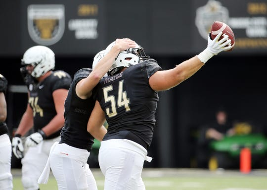 Vanderbilt's Kade Mayle (54) celebrates a fumble recovery during a game with Nevada in September.