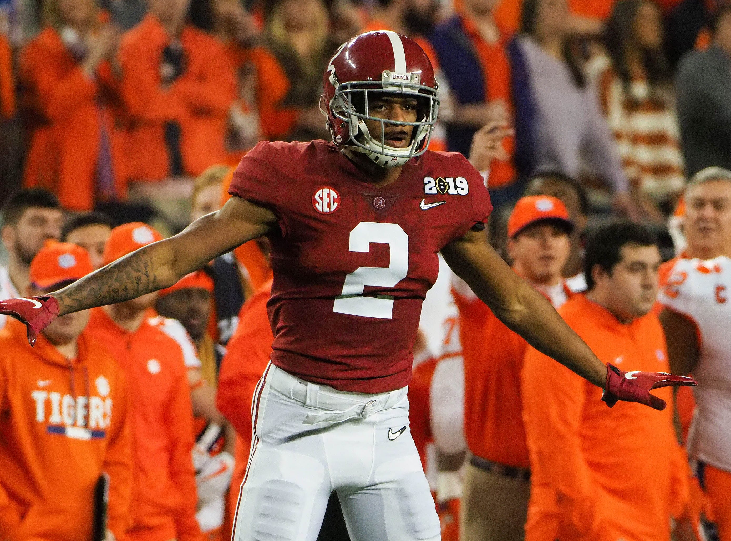 Alabama defensive back Patrick Surtain II reacts during the first quarter.