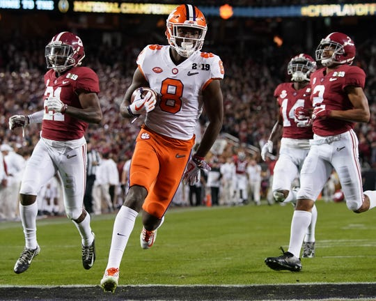 Receiver Justyn Ross accounted for 153 of Clemson's 482 yards of offense in the College Football Playoff championship game against Alabama.