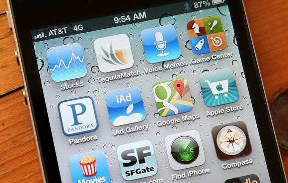An icon for the Google Maps app is seen on an Apple iPhone 4S on December 13, 2012 in Fairfax, California. Three months after Apple removed the popular Google Maps from its operating system to replace it with its own mapping software, a Google Maps app has been added to the iTunes store. Apple Maps were widely panned in tech reviews and among customers, the fallout resulting in the dismissal of the top executive in charge of Apple's mobile operating system.