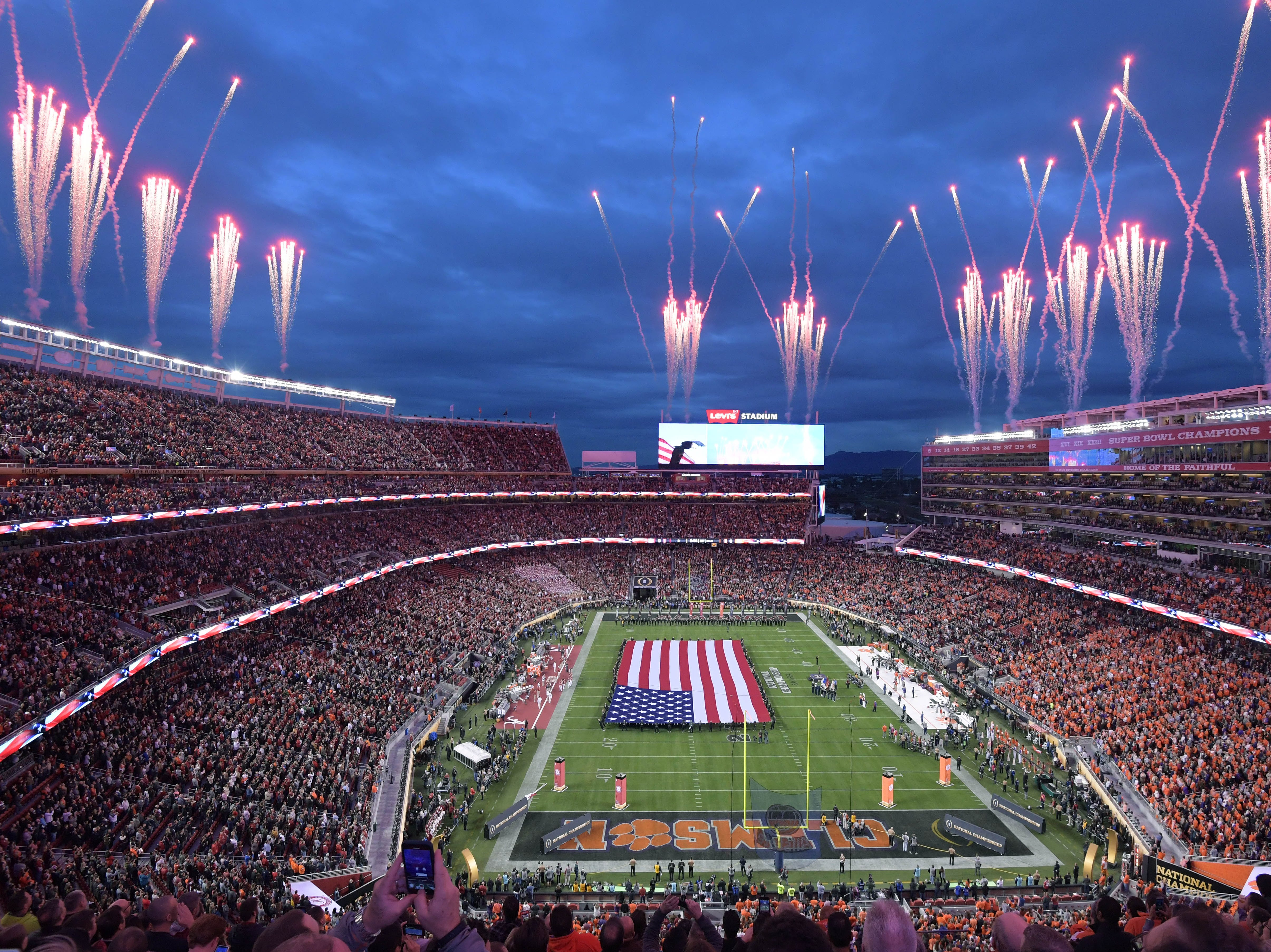 A view of the stadium during the national anthem before the game.