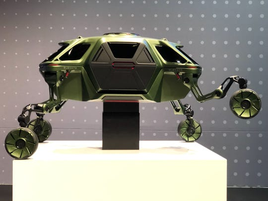 """The jointed legs allow the Elevate to """"drive, walk, or even climb over the most treacherous terrain,"""" Hyundai says."""