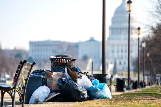 Trash on the National Mall in Washington on the fifth day of a partial federal shutdown on Dec. 26, 2018.