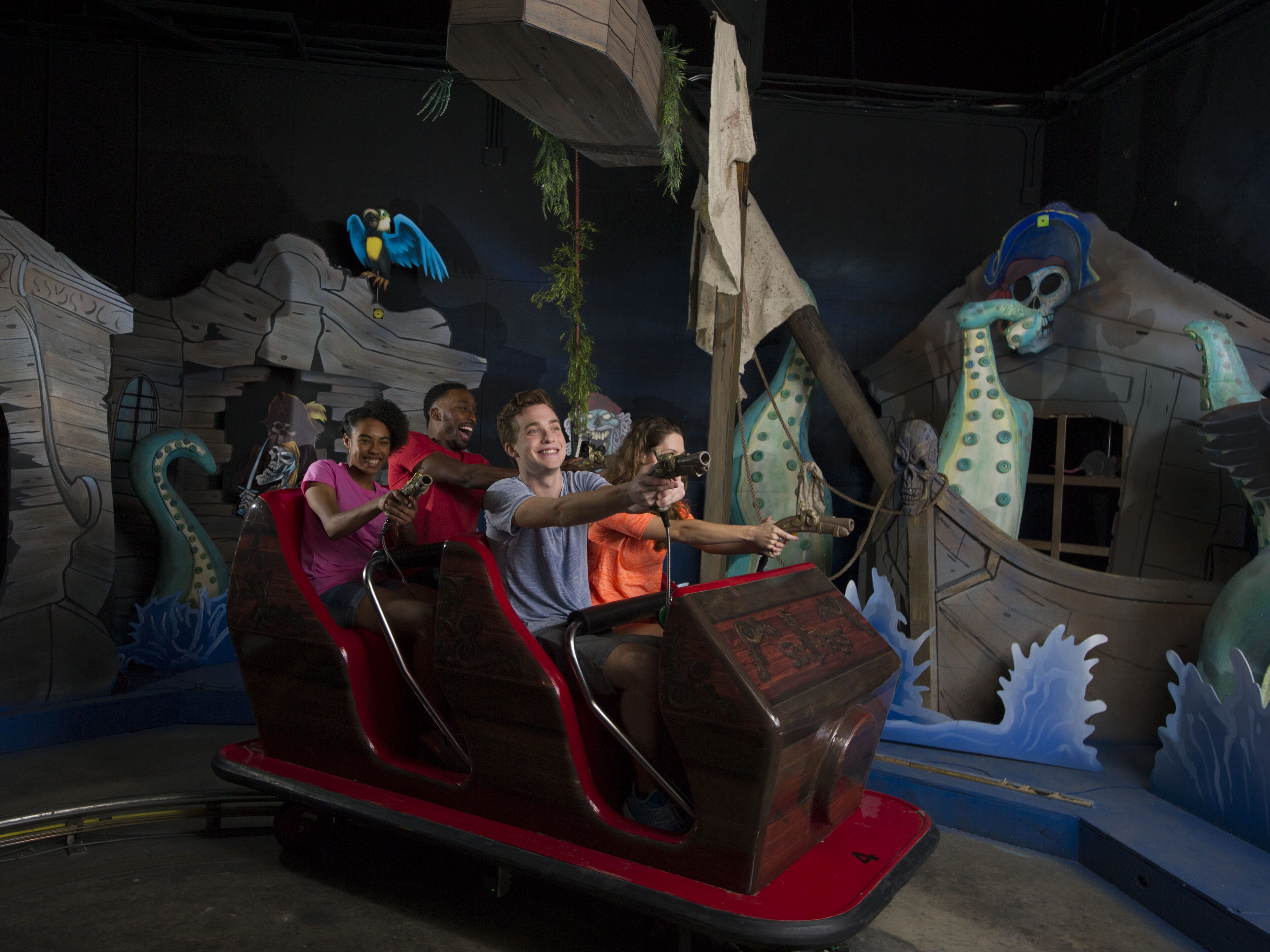 Passengers on Pirates of the Deep Sea at Six Flags Fiesta Texas will use onboard guns to shoot at targets and rack up points along with the booty.