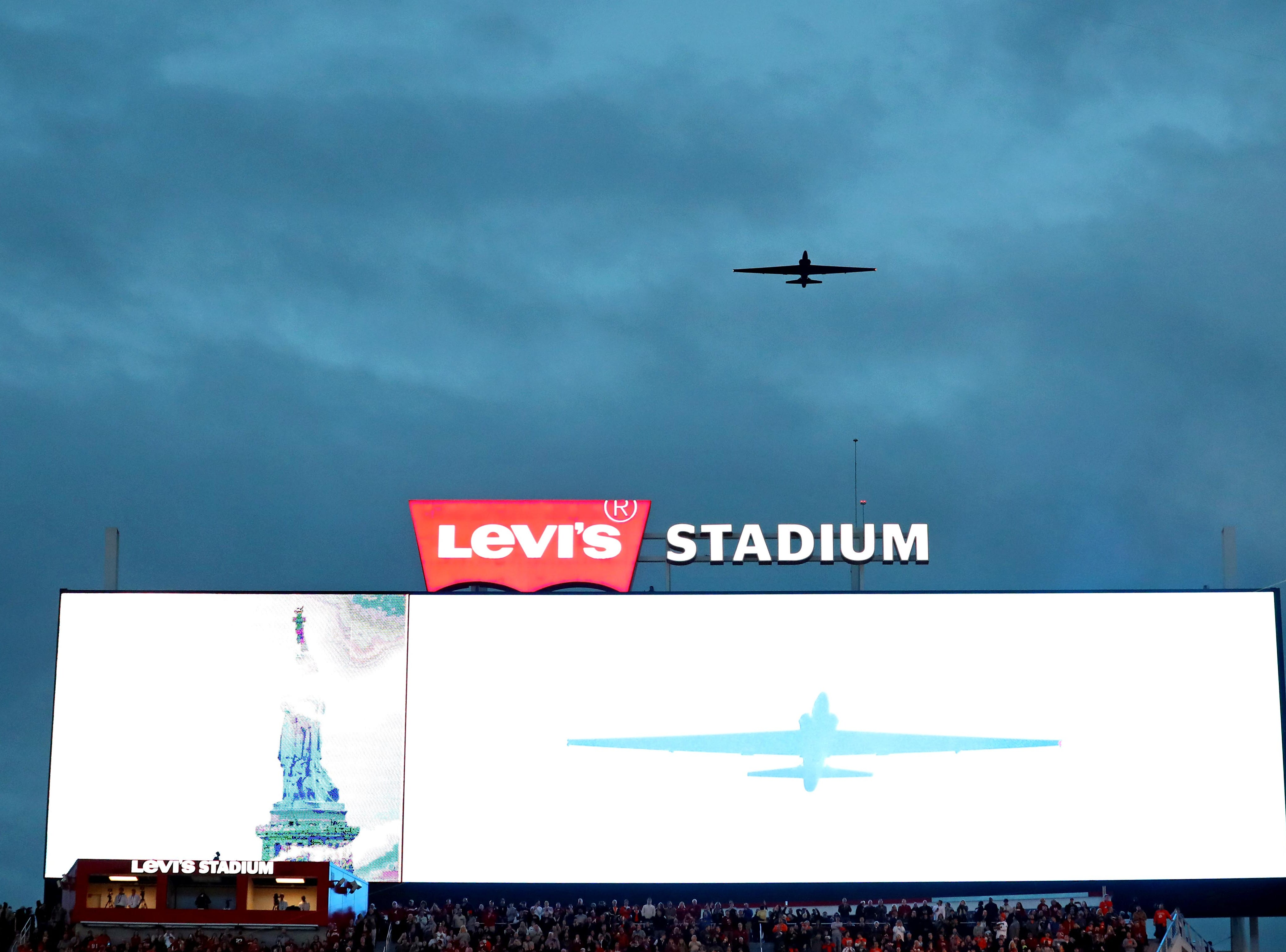 A view of the flyover during the national anthem.