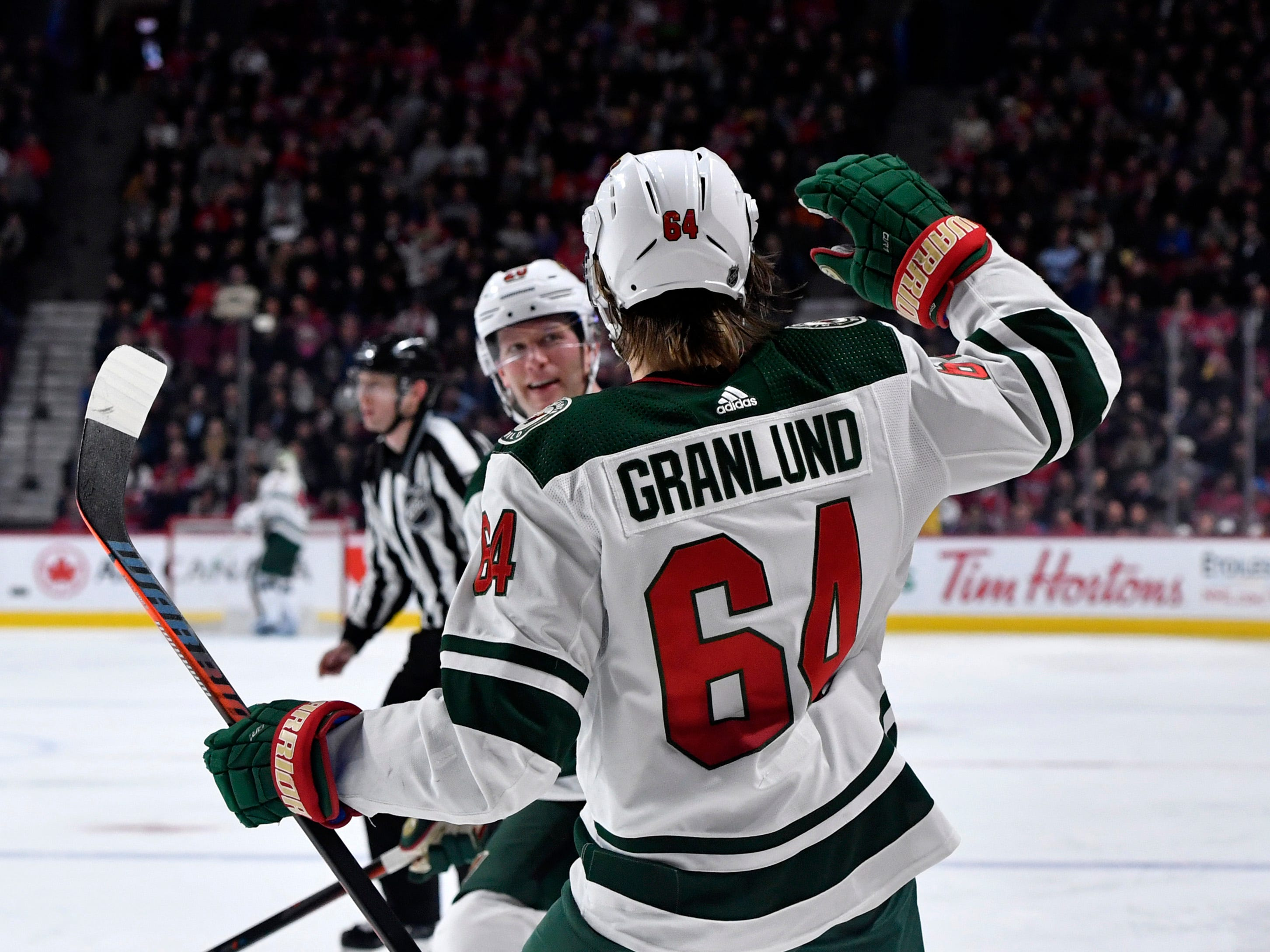 Minnesota Wild forward Mikael Granlund celebrates his goal in a 1-0 win against the Montreal Canadiens. It was his first goal since Nov. 29.