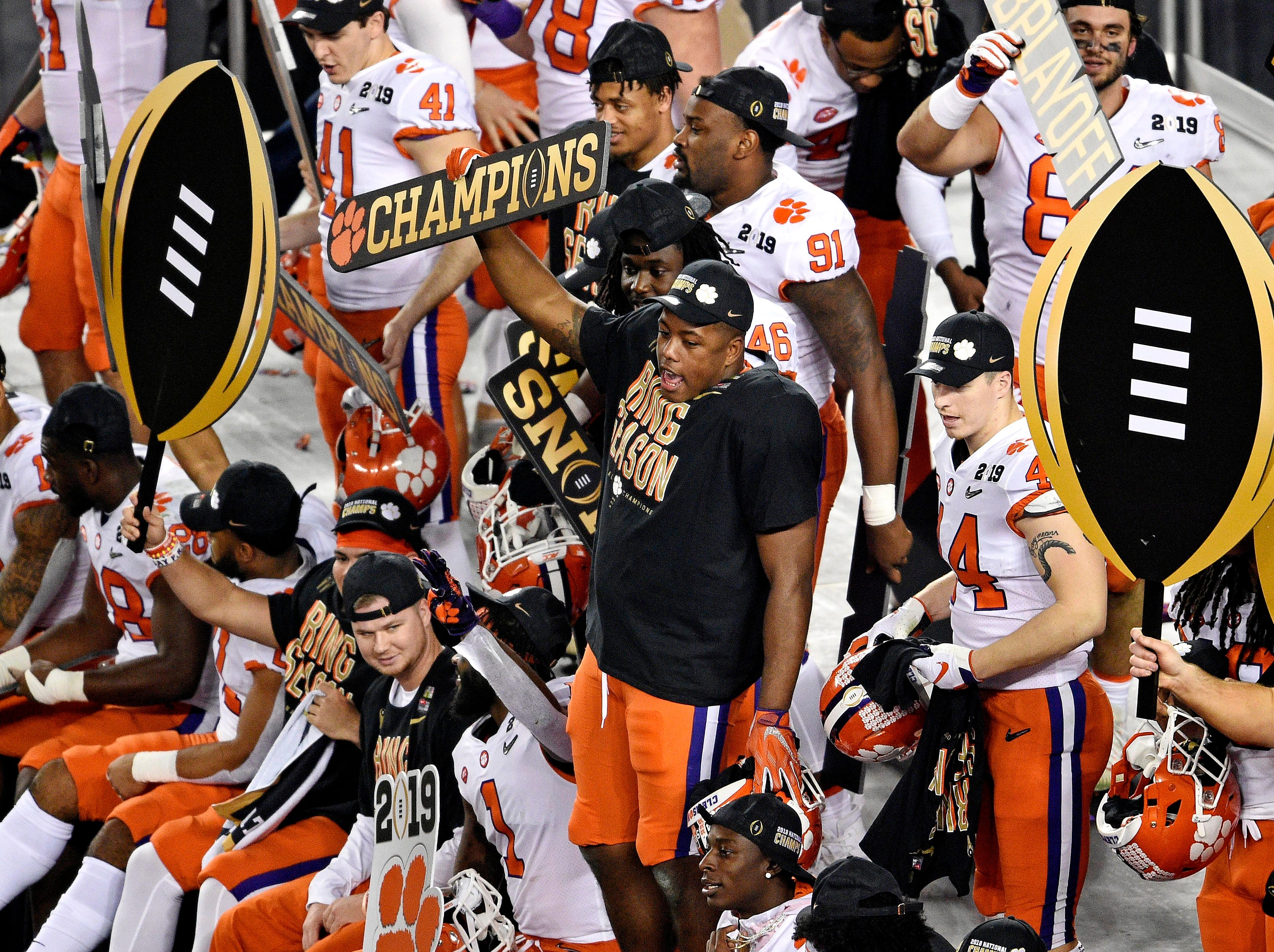 Clemson players celebrate the national championship.