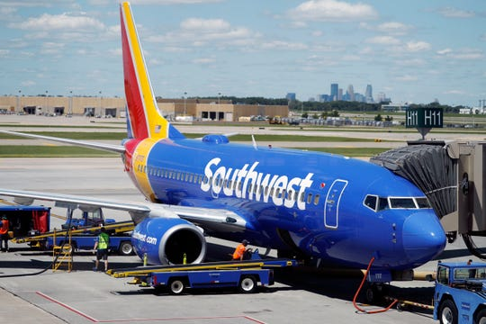 A Southwest Airlines Boeing 737 at Minneapolis International Airport