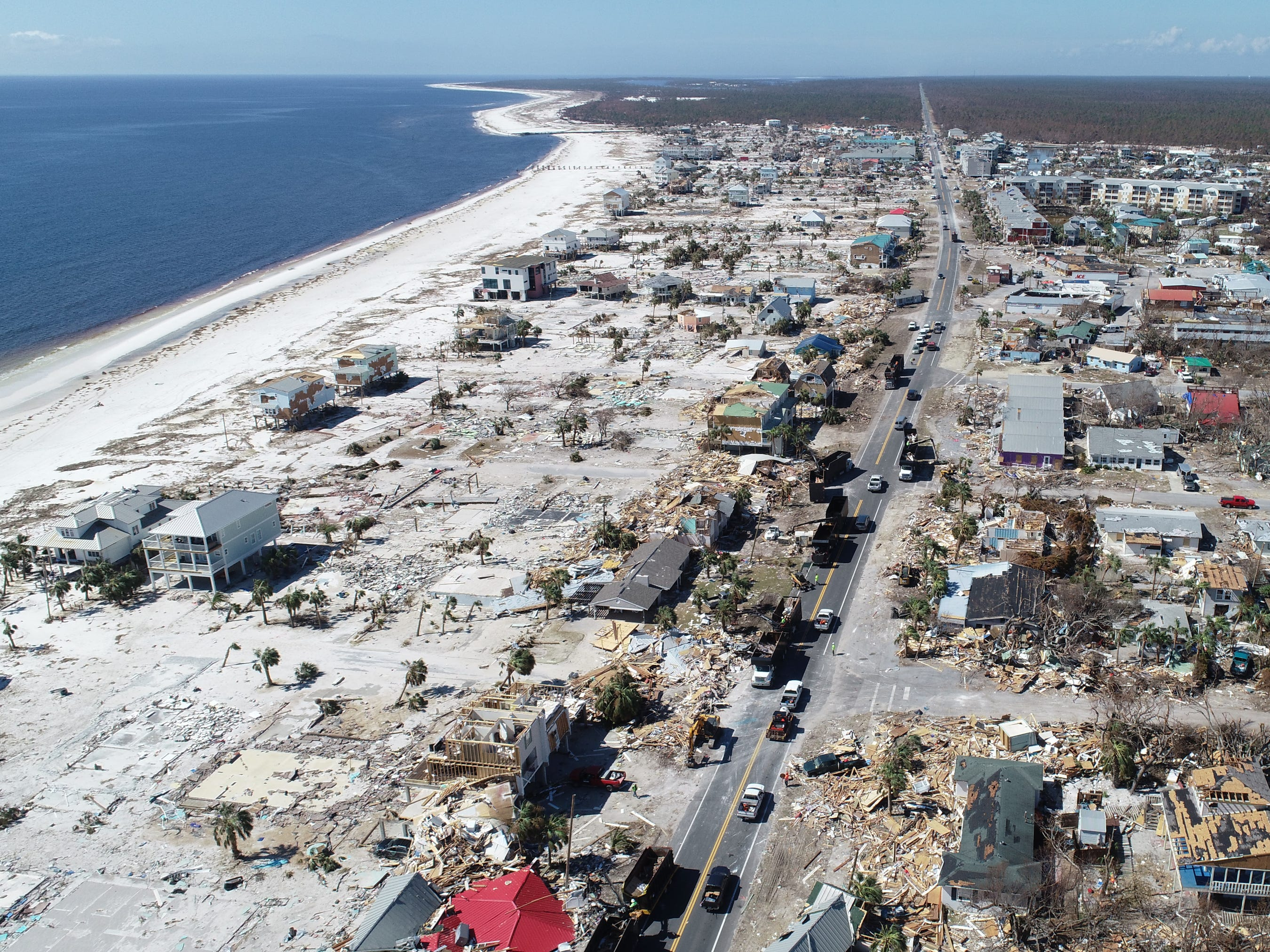 Hurricane Michael was the second costliest natural catastrophe in 2018 with $16 billion in losses. A drone image of damage left by Hurricane Michael in Mexico Beach, Fla. on Oct. 16, 2018.