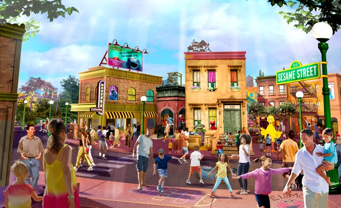 There are plenty of sunny days in Orlando. And now you'll know how to get, how to get to Sesame Street when SeaWorld brings the beloved locale to its park. After guests visit Mr. Hooper's store, the 123 stoop, Big Bird's nest and other iconic spots, they'll be able to hop on themed rides such as Elmo's ChooChoo Train and Slimey's Slider (which will let kids explore Oscar the Grouch's compost heap – ew!).