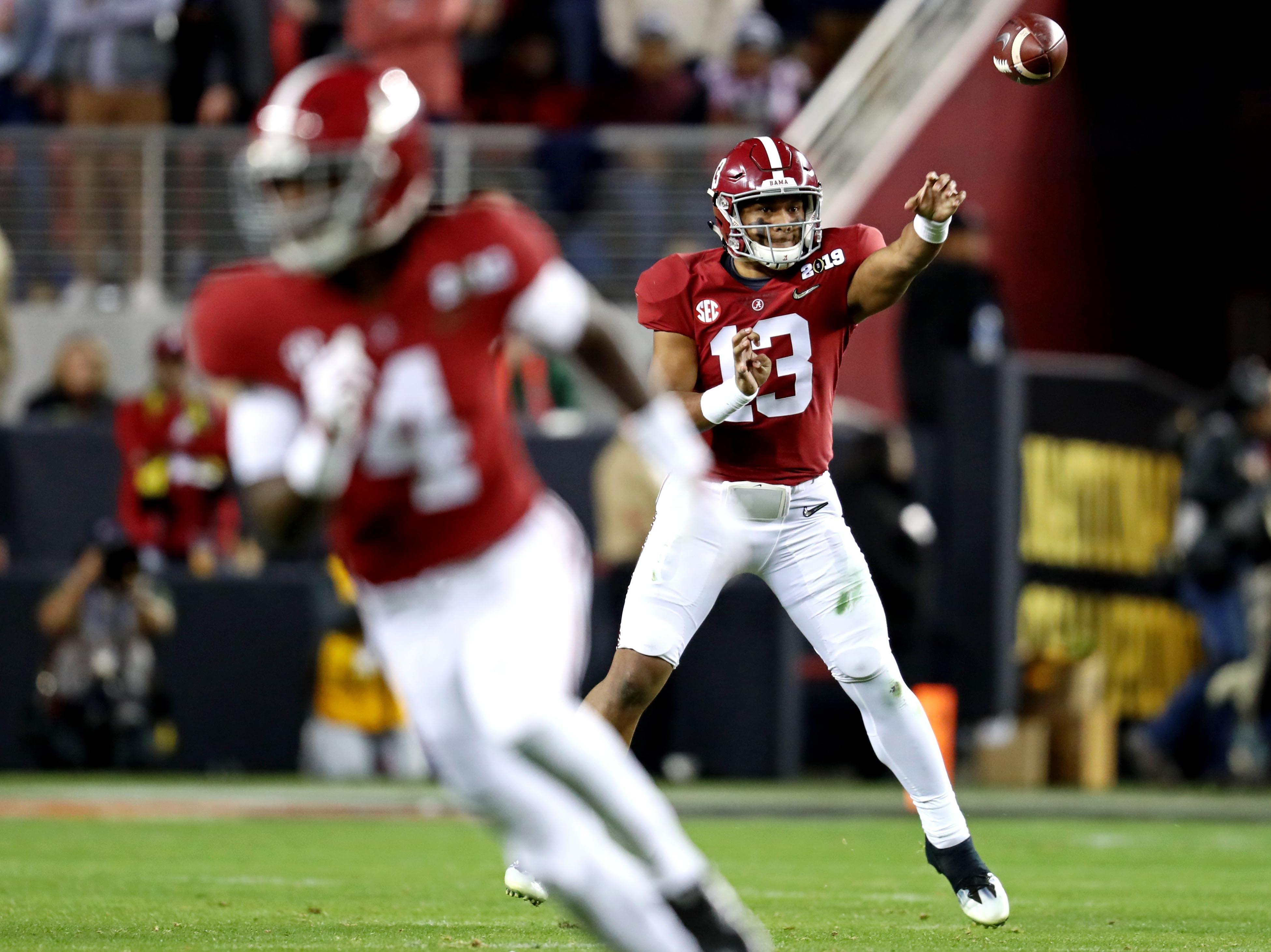 Alabama quarterback Tua Tagovailoa throws a pass during the third quarter.