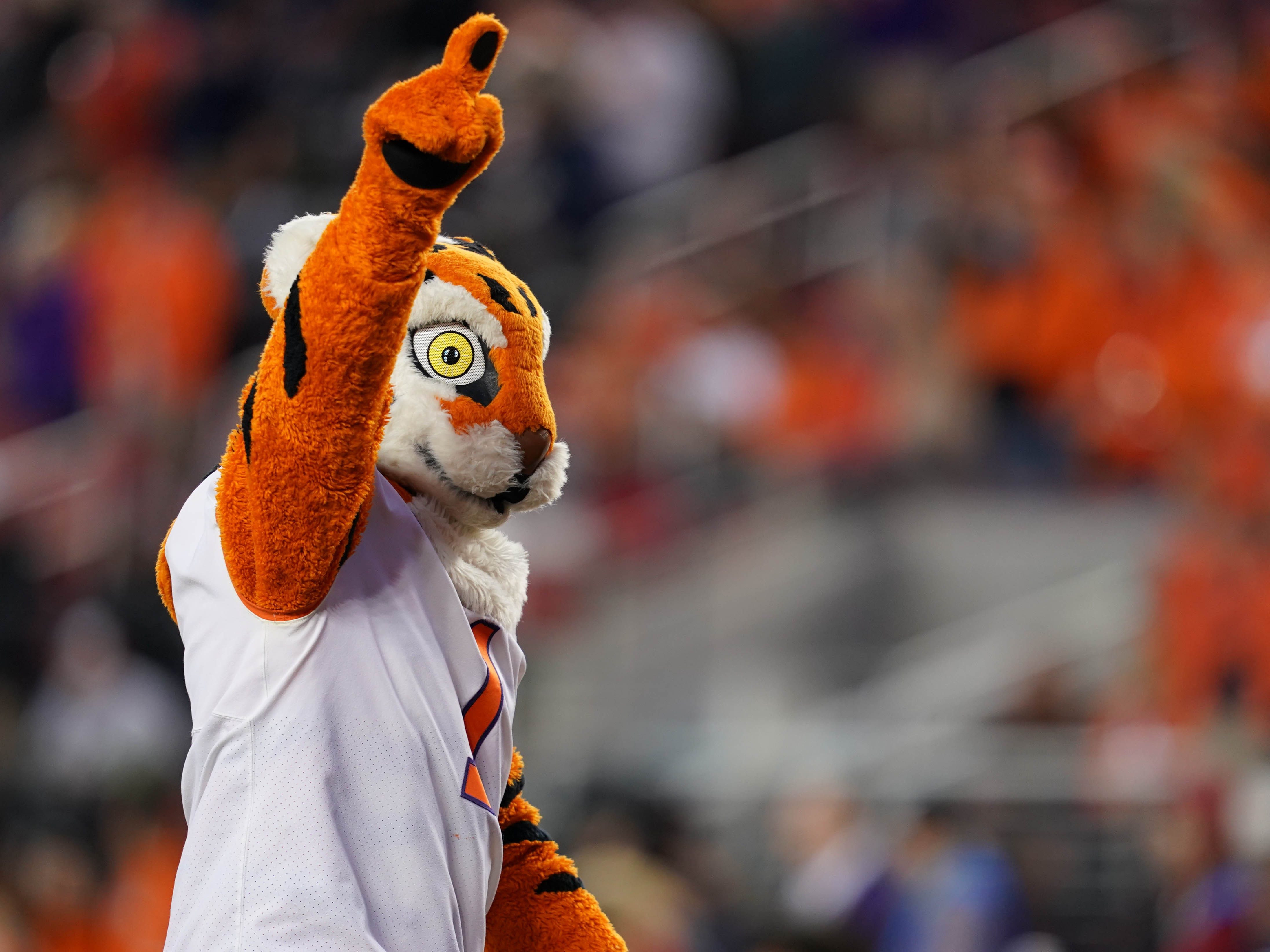 Clemson's mascot walks on the field before the game.