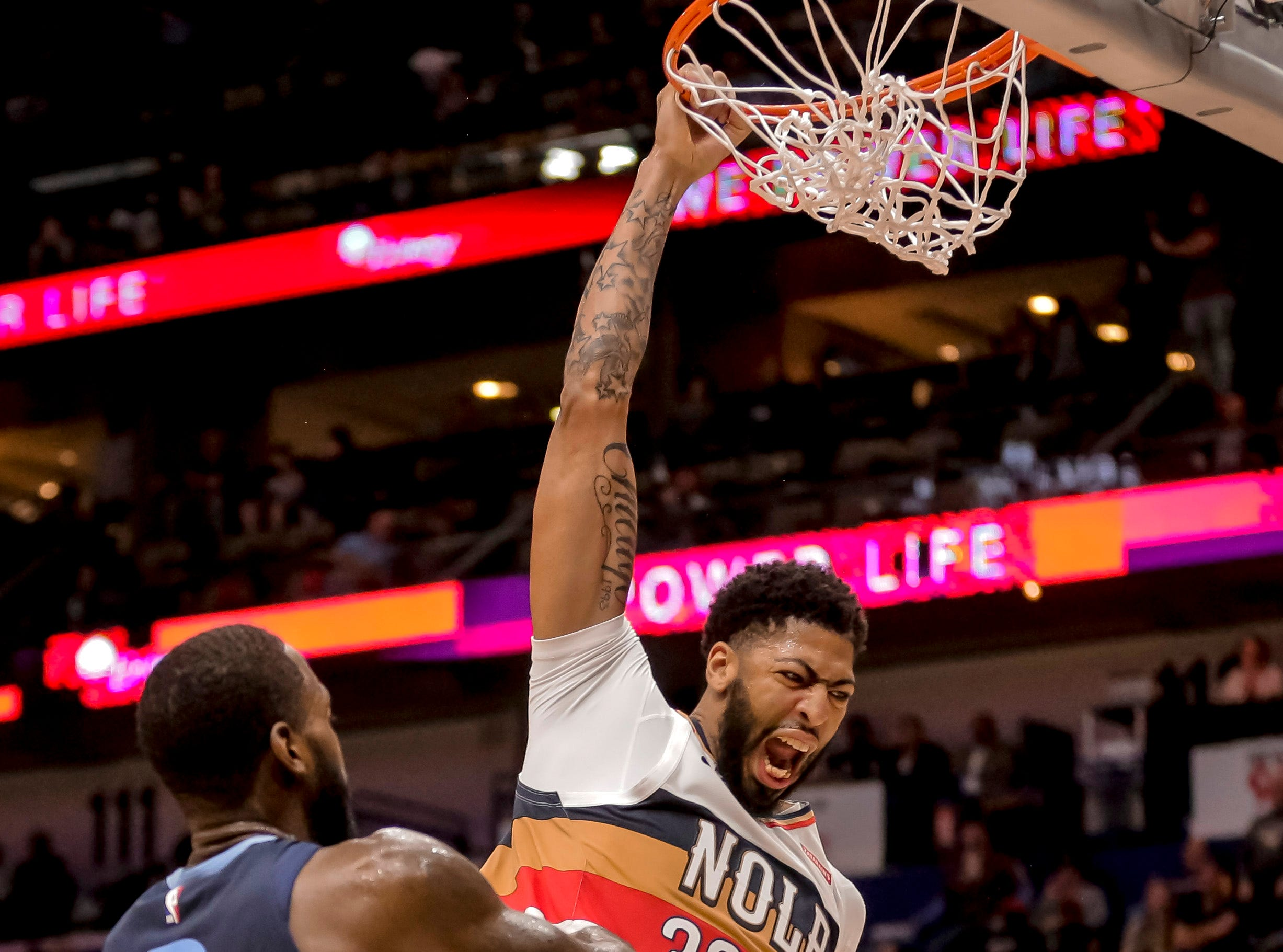 Jan. 7: New Orleans Pelicans forward Anthony Davis (23) reacts after dunking against the Memphis Grizzlies.