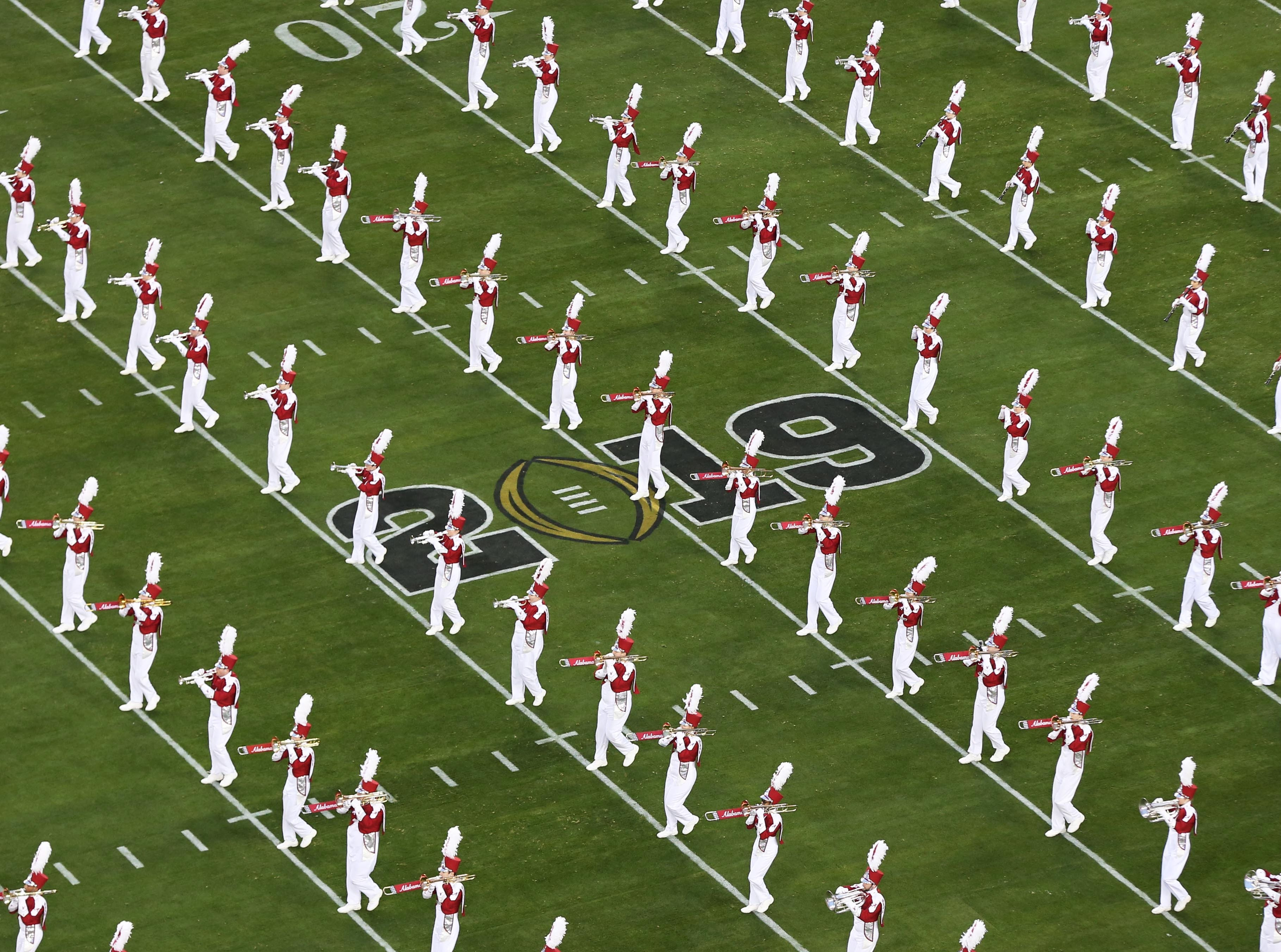 Band on the field before the game.