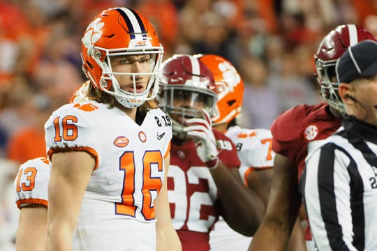 Clemson quarterback Trevor Lawrence during the first quarter.
