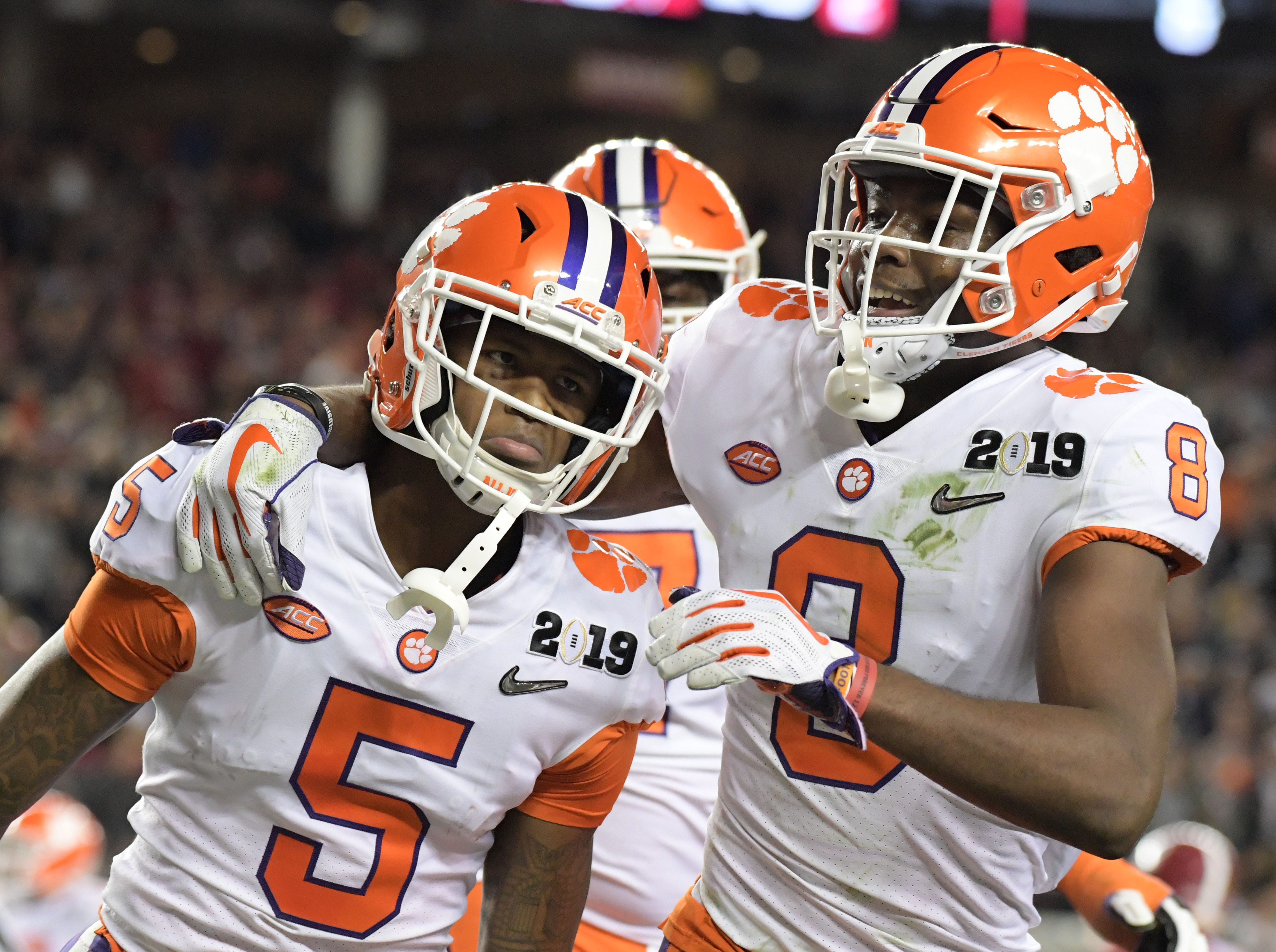 Clemson receiver Tee Higgins (5) celebrates after a touchdown catch in the third quarter.
