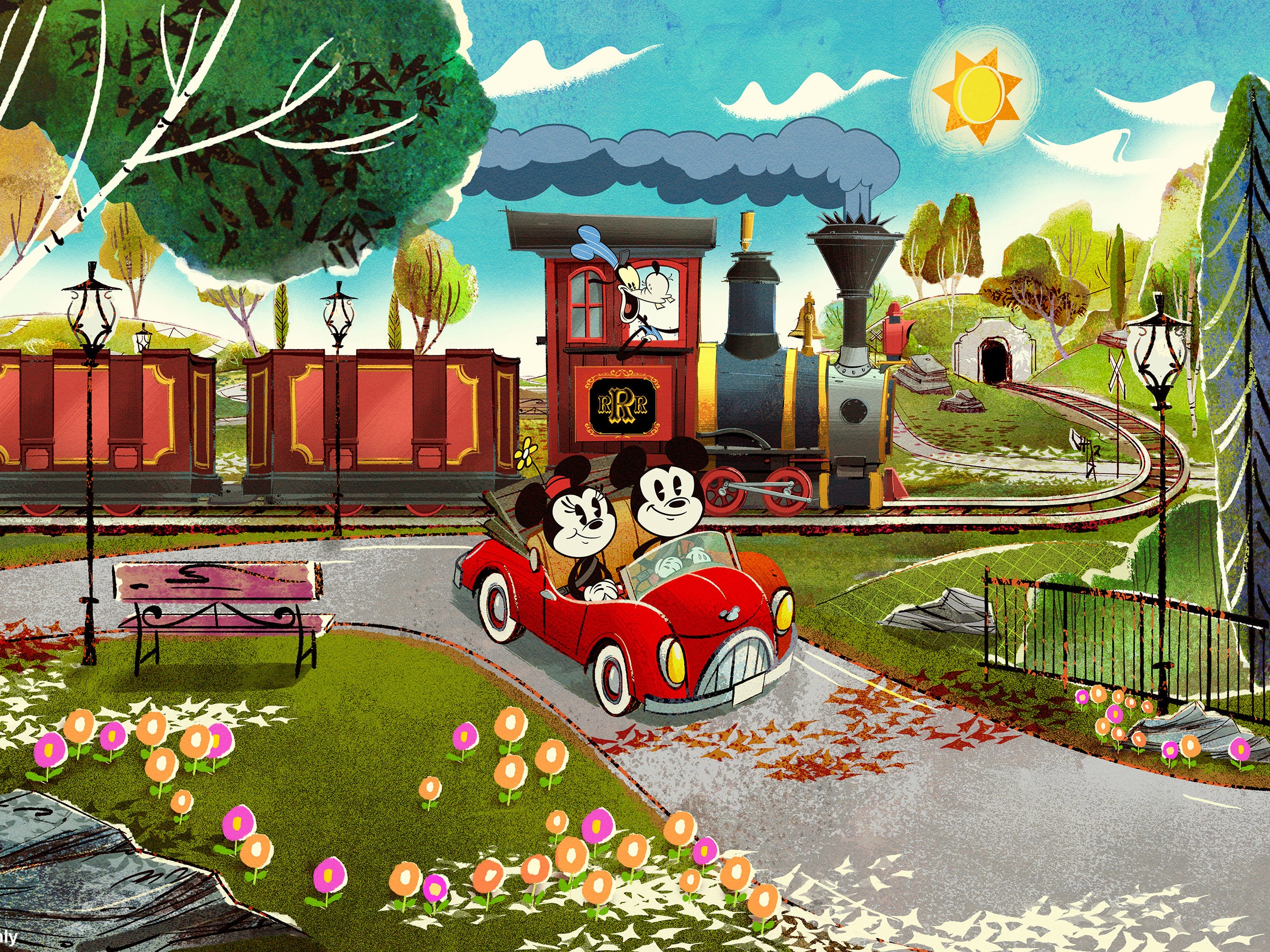 Mickey Mouse recently celebrated his 90th birthday, but the cherubic mascot hasn't aged a whit. In fact, retro, pie-eyed versions of Mr. Mouse and his constant companion will star in their first ride, Mickey & Minnie's Runaway Railway. Set to debut at Disney's Hollywood Studios in the fall, passengers will be magically transported into an animated world alongside the mice where they will board a train with Goofy at the helm.