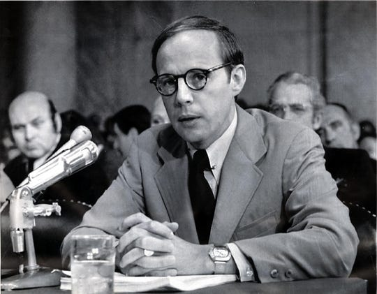 Former White House counsel John Dean testifies in June 1973.