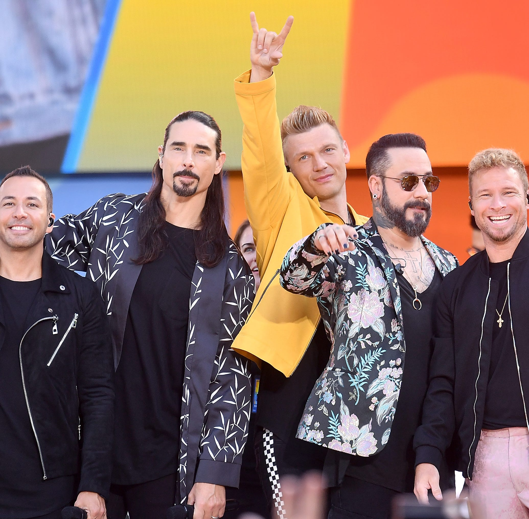 """NEW YORK, NY - JULY 13:  (L-R) Howie D., Kevin Richardson, Nick Carter, AJ McLean and Brian Littrell of the Backstreet Boys perform on ABC's """"Good Morning America"""" at SummerStage at Rumsey Playfield, Central Park on July 13, 2018 in New York City.  (Photo by Michael Loccisano/Getty Images) ORG XMIT: 775184599 ORIG FILE ID: 997733102"""