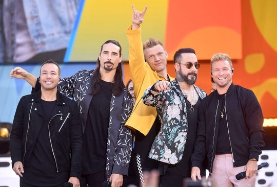 "NEW YORK, NY - JULY 13:  (L-R) Howie D., Kevin Richardson, Nick Carter, AJ McLean and Brian Littrell of the Backstreet Boys perform on ABC's ""Good Morning America"" at SummerStage at Rumsey Playfield, Central Park on July 13, 2018 in New York City.  (Photo by Michael Loccisano/Getty Images) ORG XMIT: 775184599 ORIG FILE ID: 997733102"