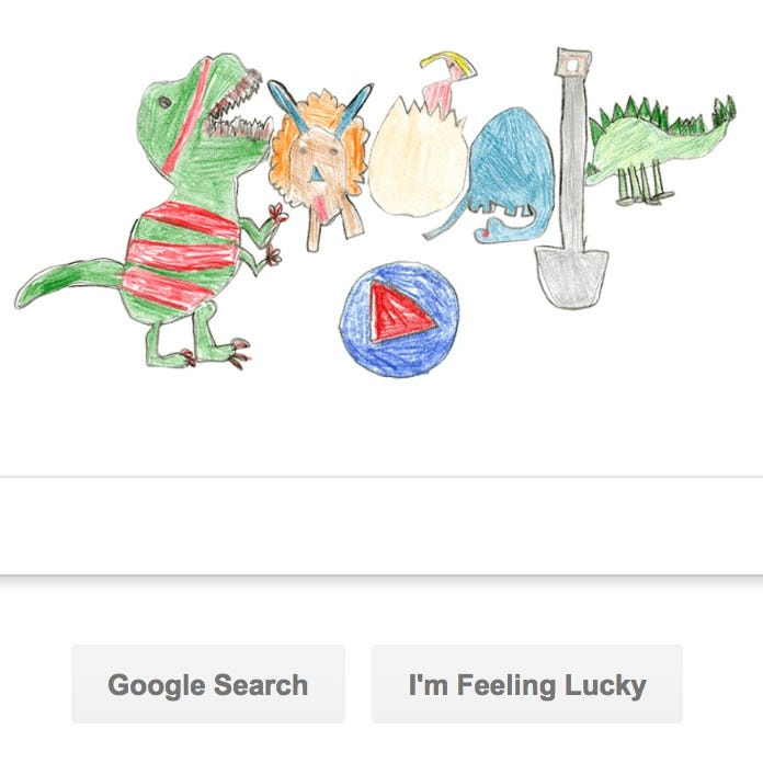 Google's latest Doodle featuring dinosaurs created by a second grader