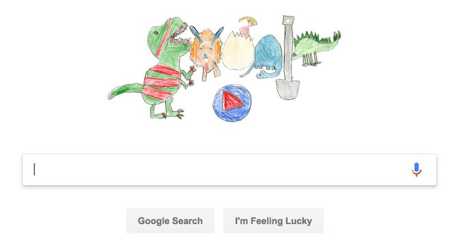 This Google Doodle featuring dinosaurs was created by second grader Sarah Gomez-Lane, as part of a contest to create the company's logo.