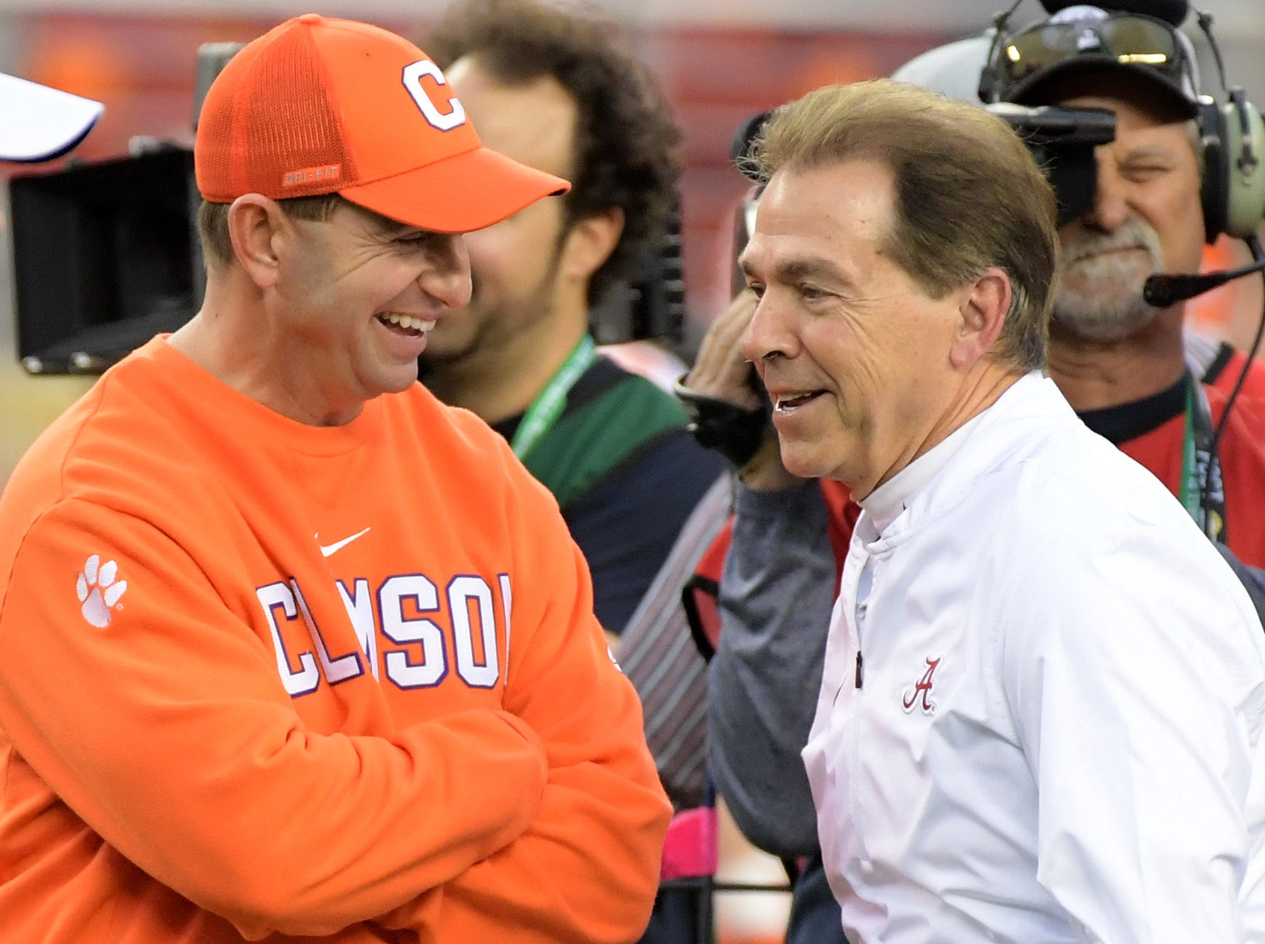 Dabo Swinney and Nick Saban share a laugh before the game.