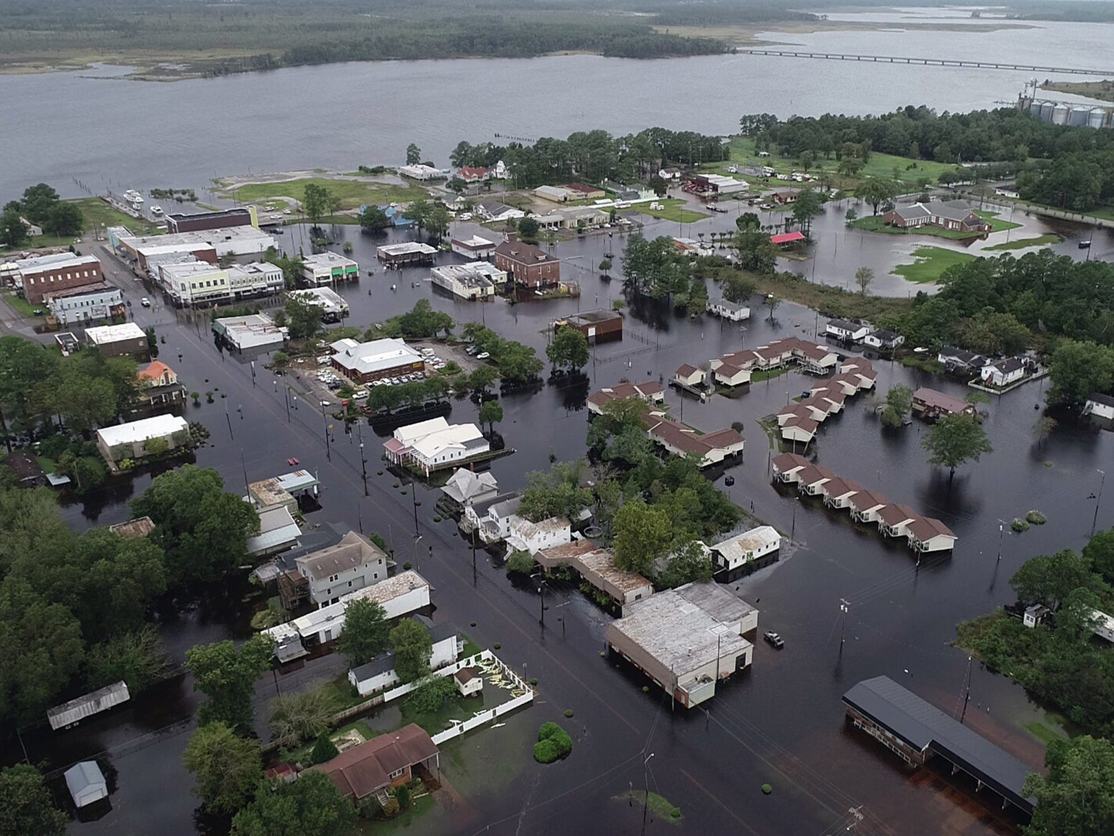 A drone photo of flooding caused by Hurricane Florence in Belhaven, N.C. on Sept. 15, 2018.