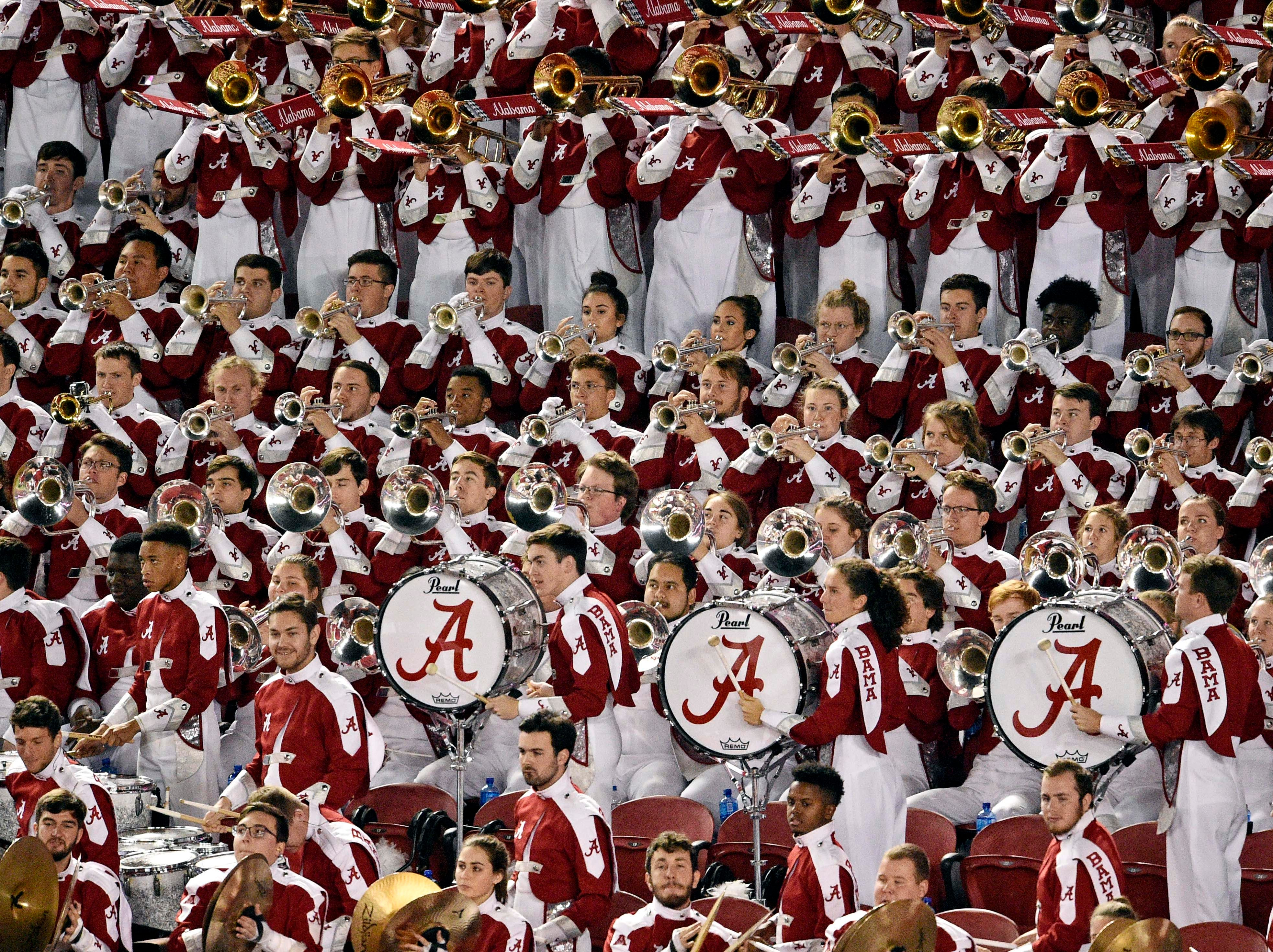 Alabama's band performs during the first half.