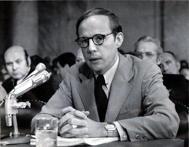 Former White House counsel John Dean testifies in June 1973.