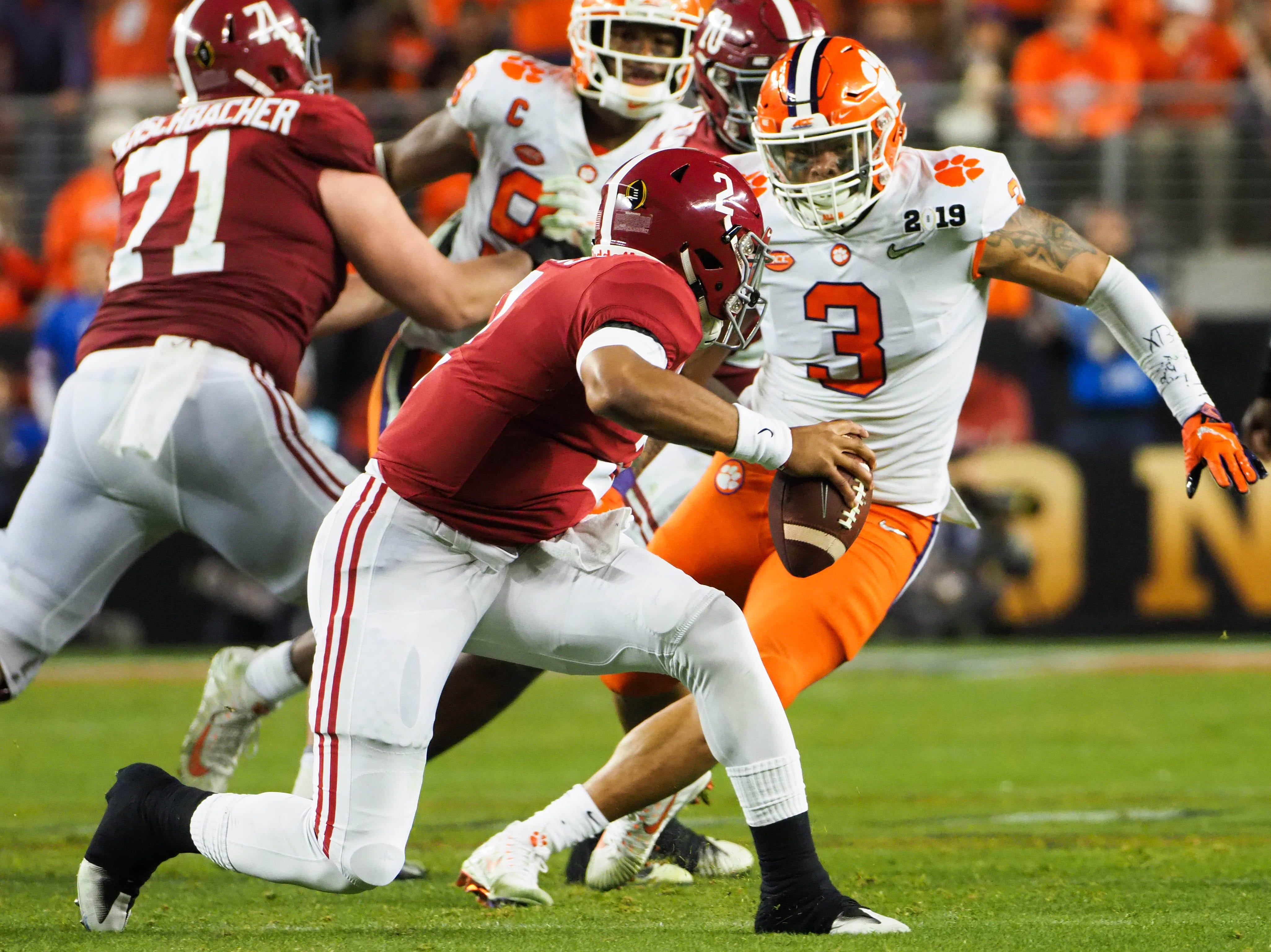Alabama quarterback Jalen Hurts faces pressure in the fourth quarter.
