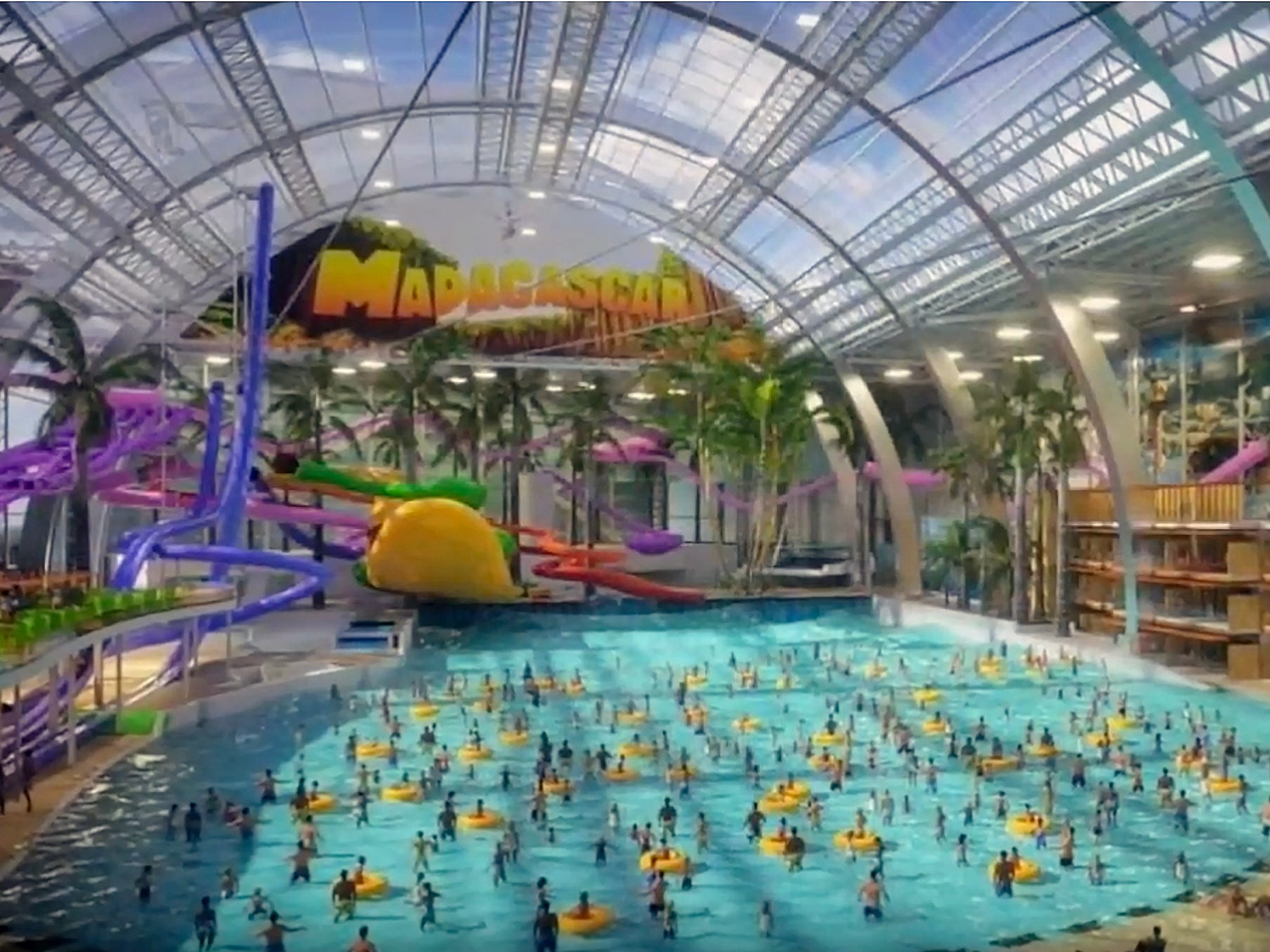 American Dream will also include the indoor, glass-domed, 8-acre Dreamworks Water Park. It will be open year-round and feature an enormous wave pool and other rides themed to the animation studio's movies.