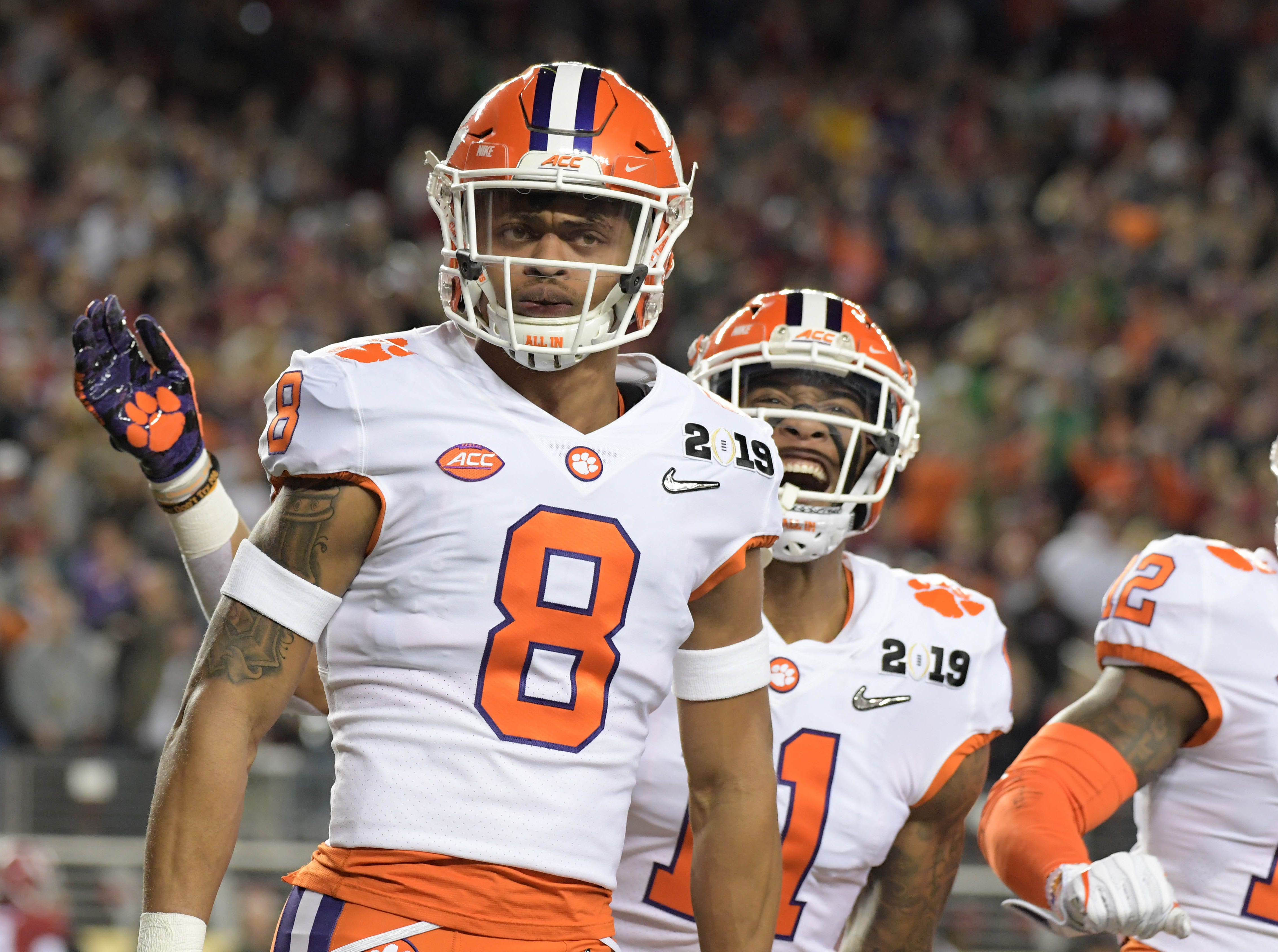 Clemson cornerback A.J. Terrell celebrates after returning an interception for a touchdown in the first quarter.