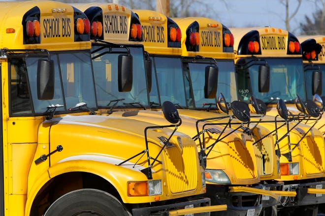 School buses in Swanville, Maine.