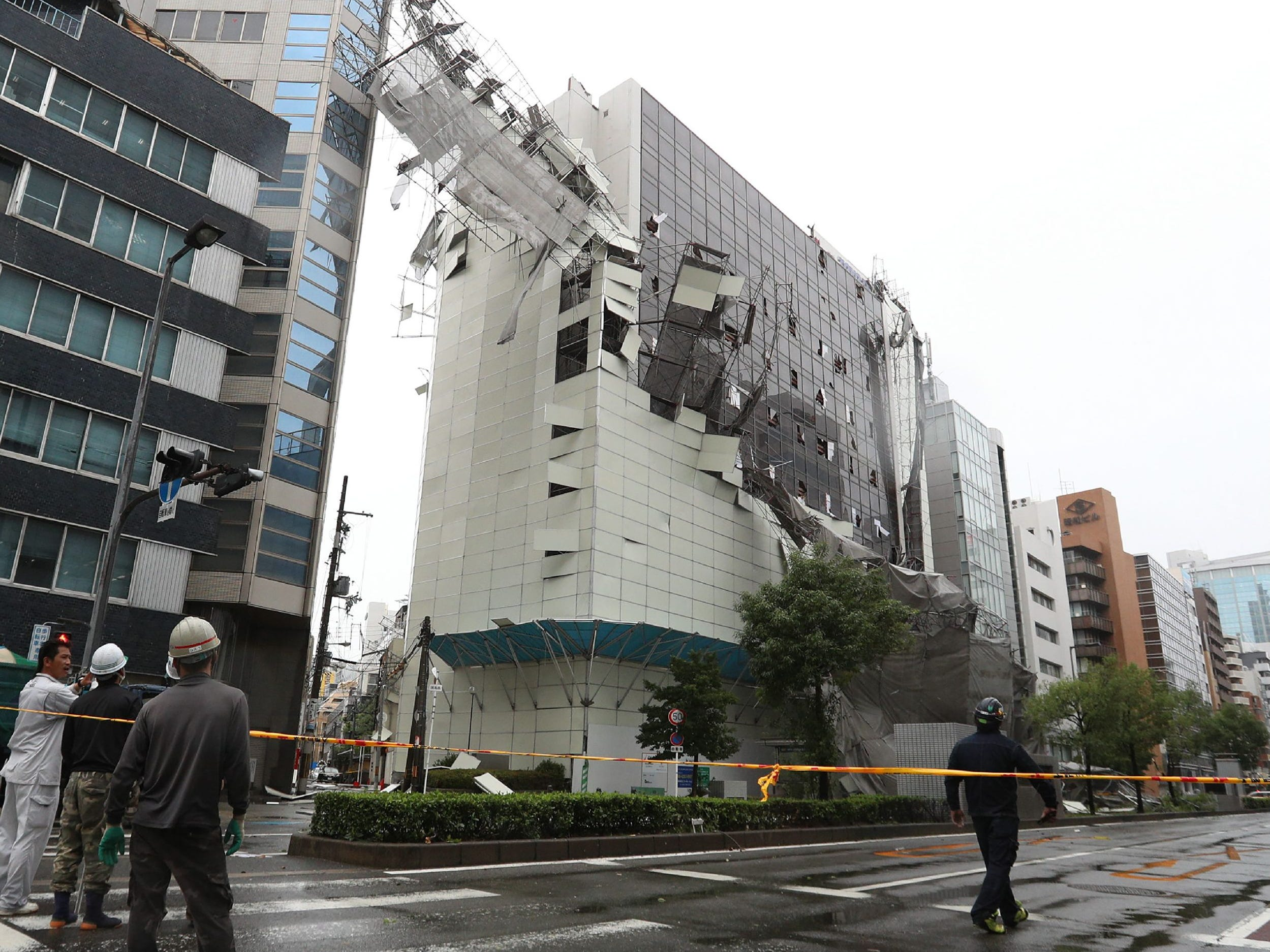 Damage from loose construction scaffolding due to weather patterns from Typhoon Jebi is seen in Osaka on Sept. 4, 2018, as the typhoon made landfall around midday in southwestern Japan.