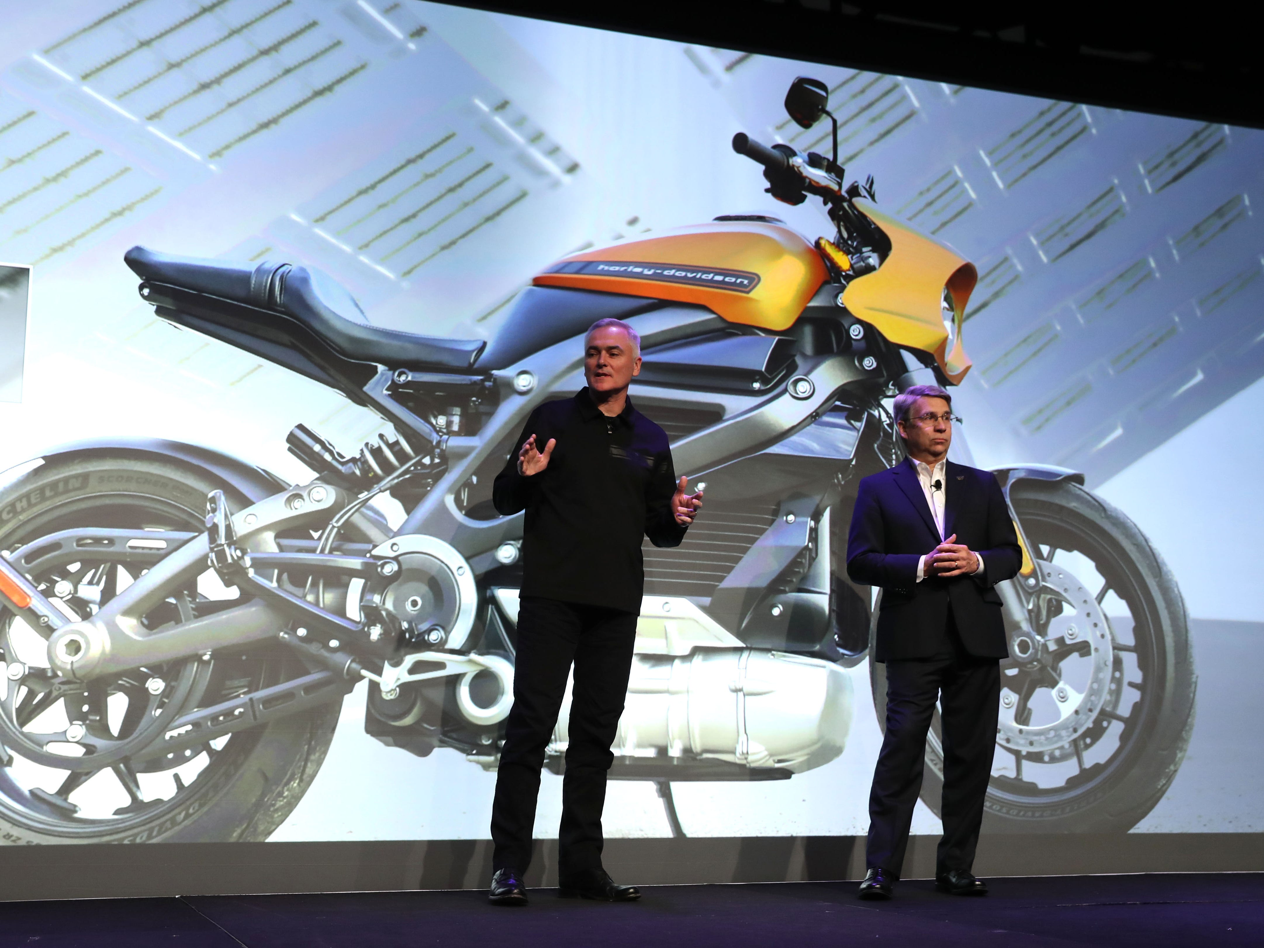 Marc McCallister, VP Consumer Portfolio Management with Harley Davidson talks about the the new Harley Davidson LiveWire electric motorcycle with Panasonic North America Chairman and CEO Tom Gebhardt.