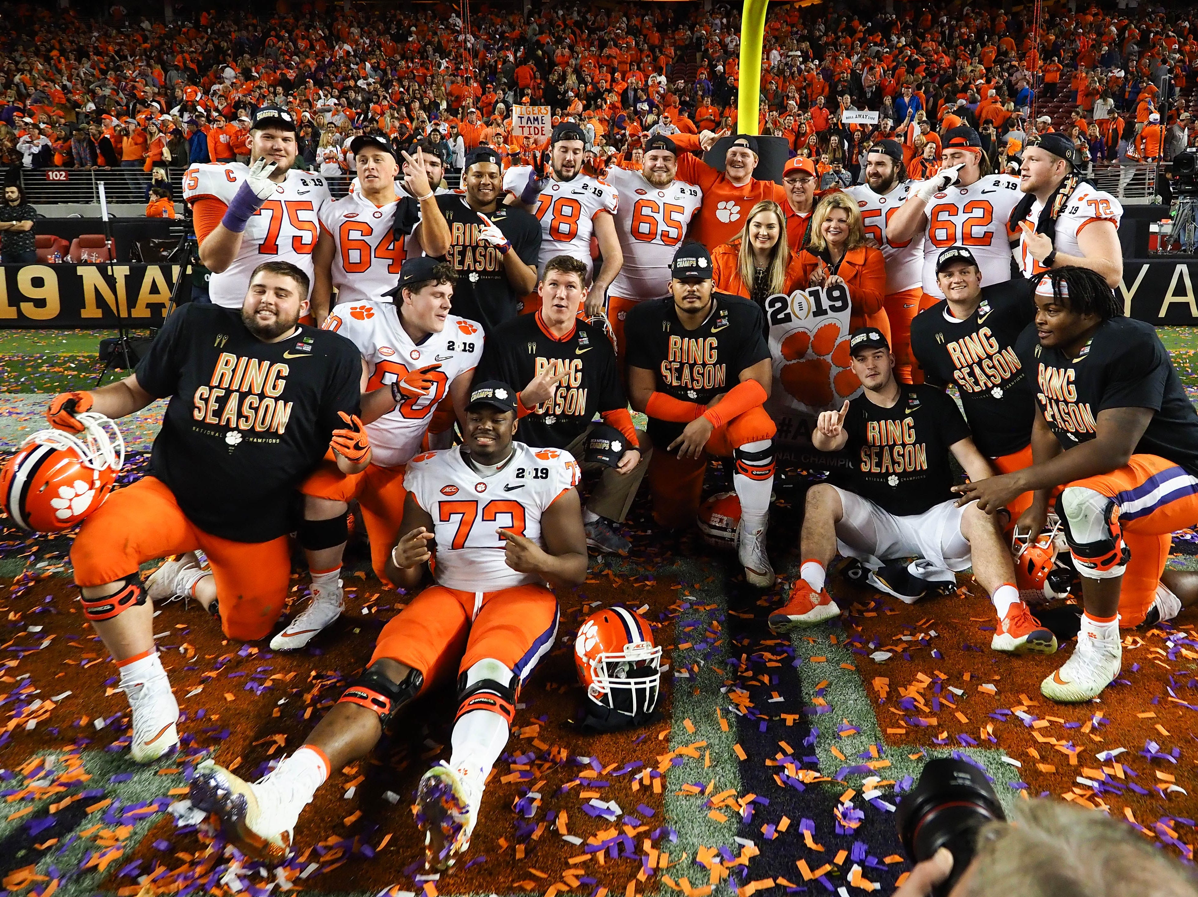 Clemson Tigers players pose for a photo after winning the national championship.