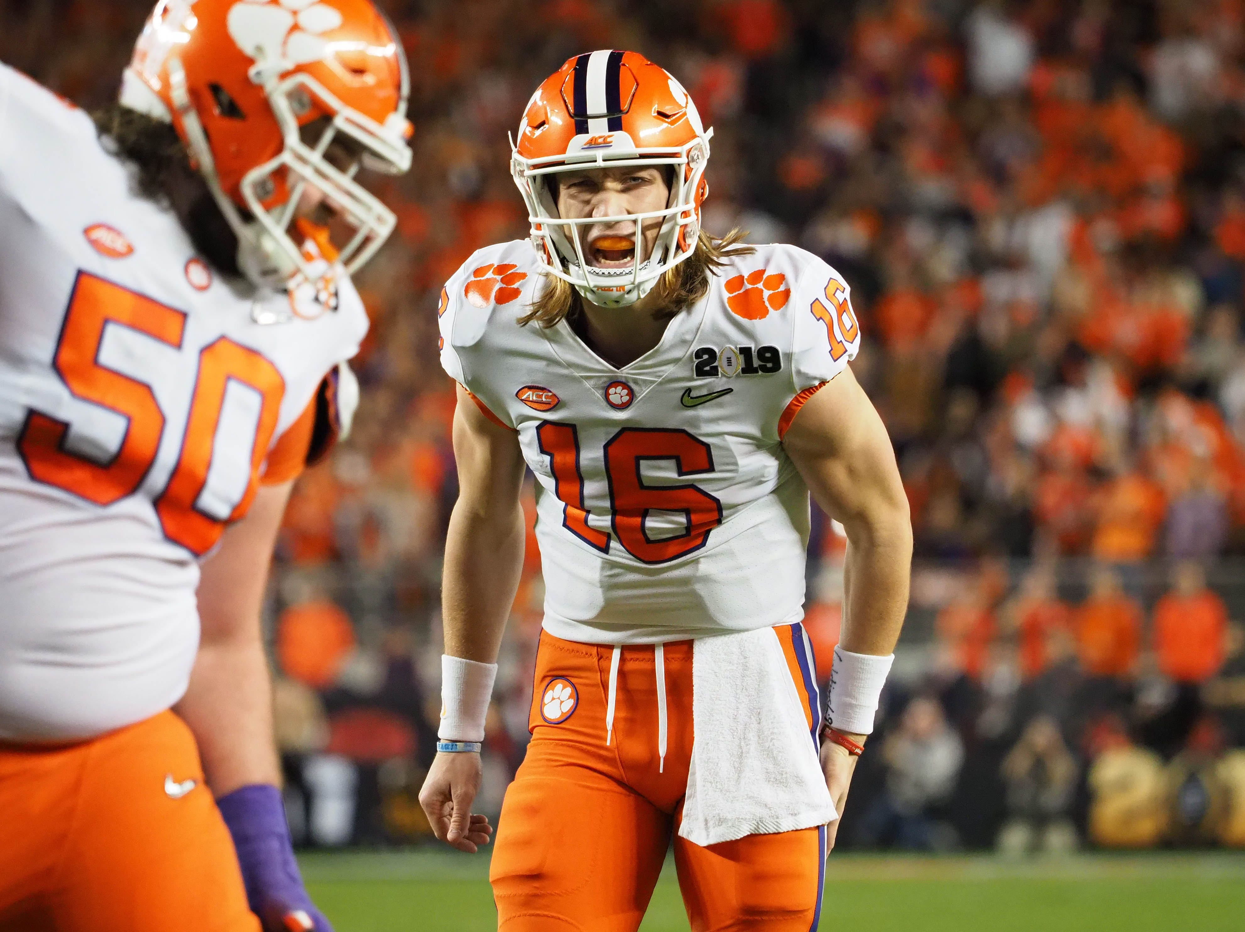 Clemson quarterback Trevor Lawrence (16) reacts during the second quarter.