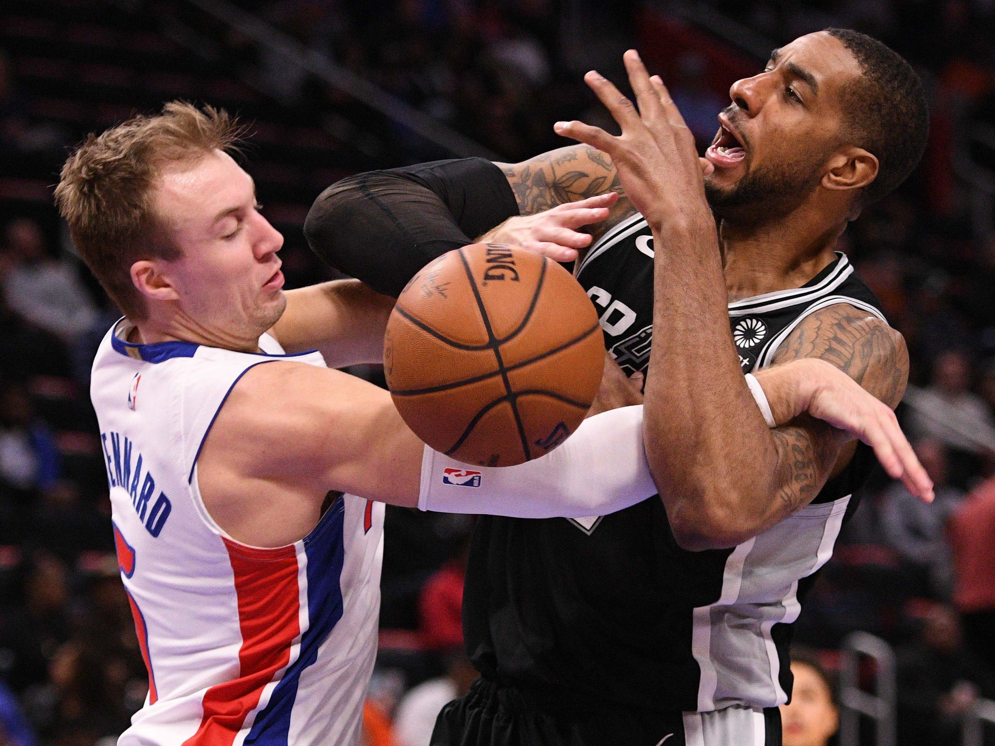 Jan. 7: Pistons guard Luke Kennard (5) fouls Spurs forward LaMarcus Aldridge (12) during the fourth quarter at Little Caesars Arena in Detroit.