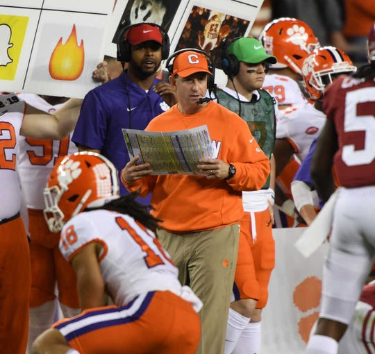 Clemson Head Coach Dabo Swinney during the fourth quarter  of the College Football Championship at Levi's Stadium in Santa Clara, California Monday, January 7, 2019.