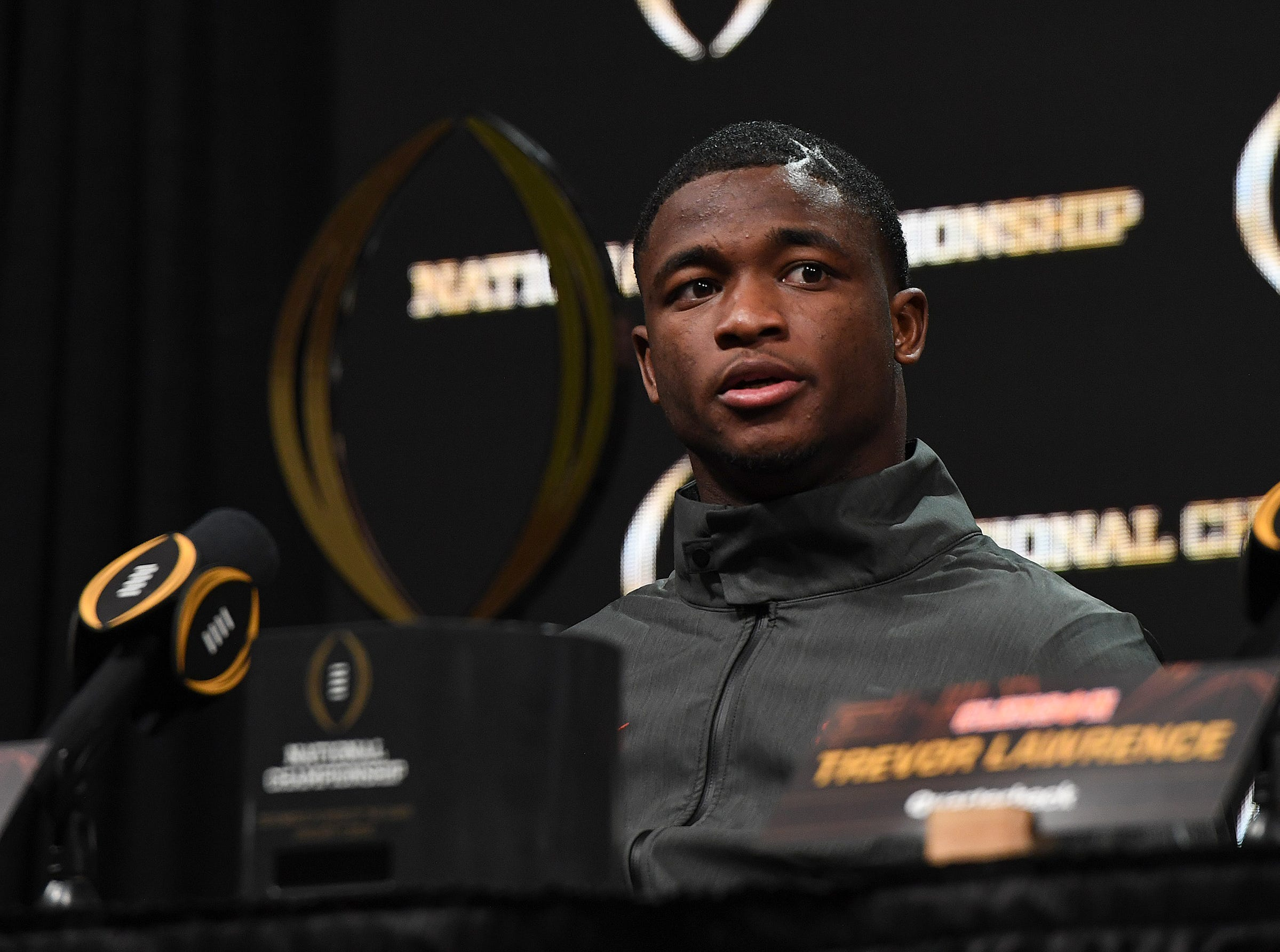 College Football National Championship defensive MVP Clemson cornerback Trayvon Mullen answers questions during the College Football National Championship press conference in San Jose, CA Tuesday, January 8, 2019.