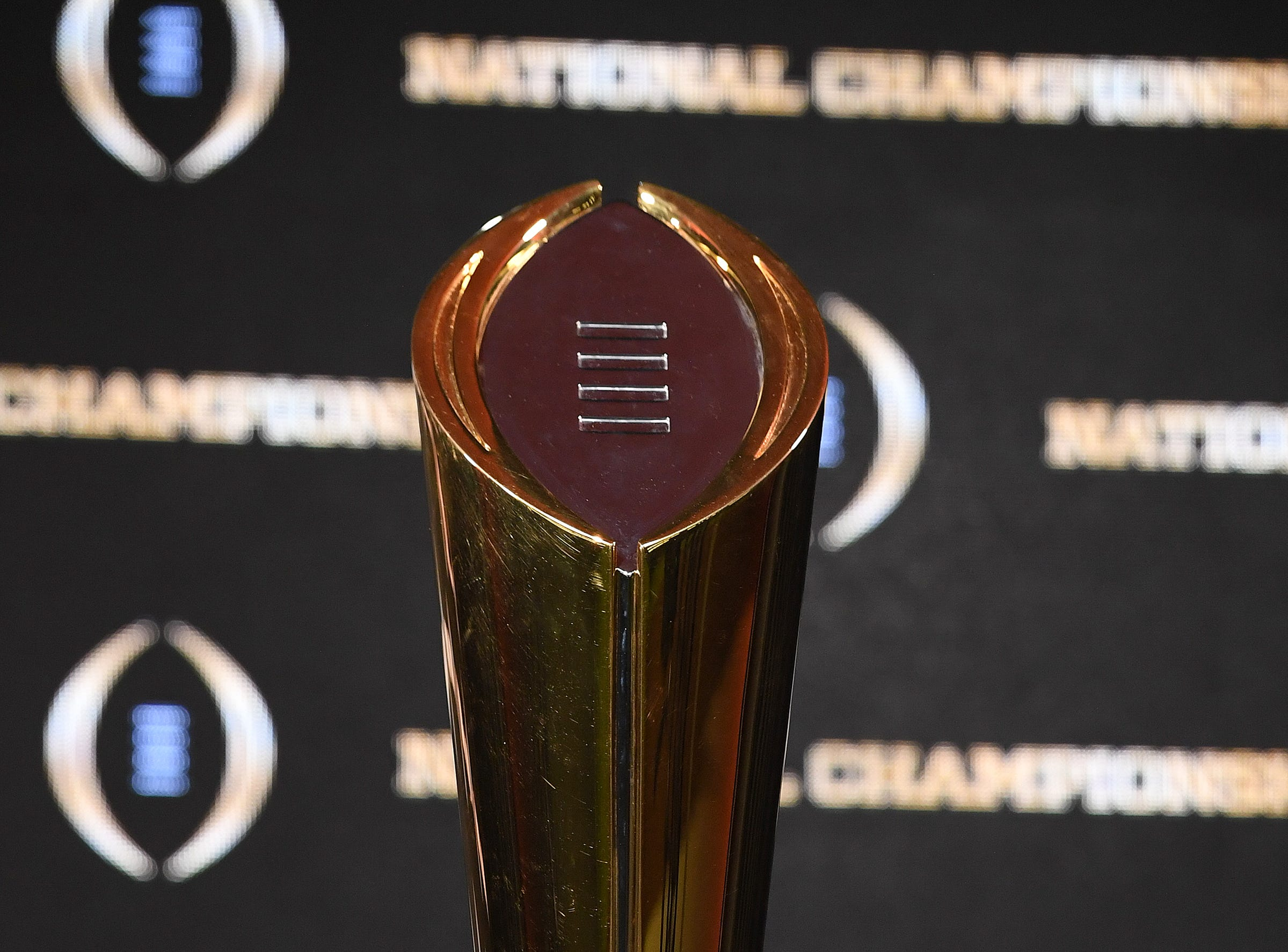 Clemson's College Football National Championship trophy during the Tigers press conference in San Jose, CA Tuesday, January 8, 2019.
